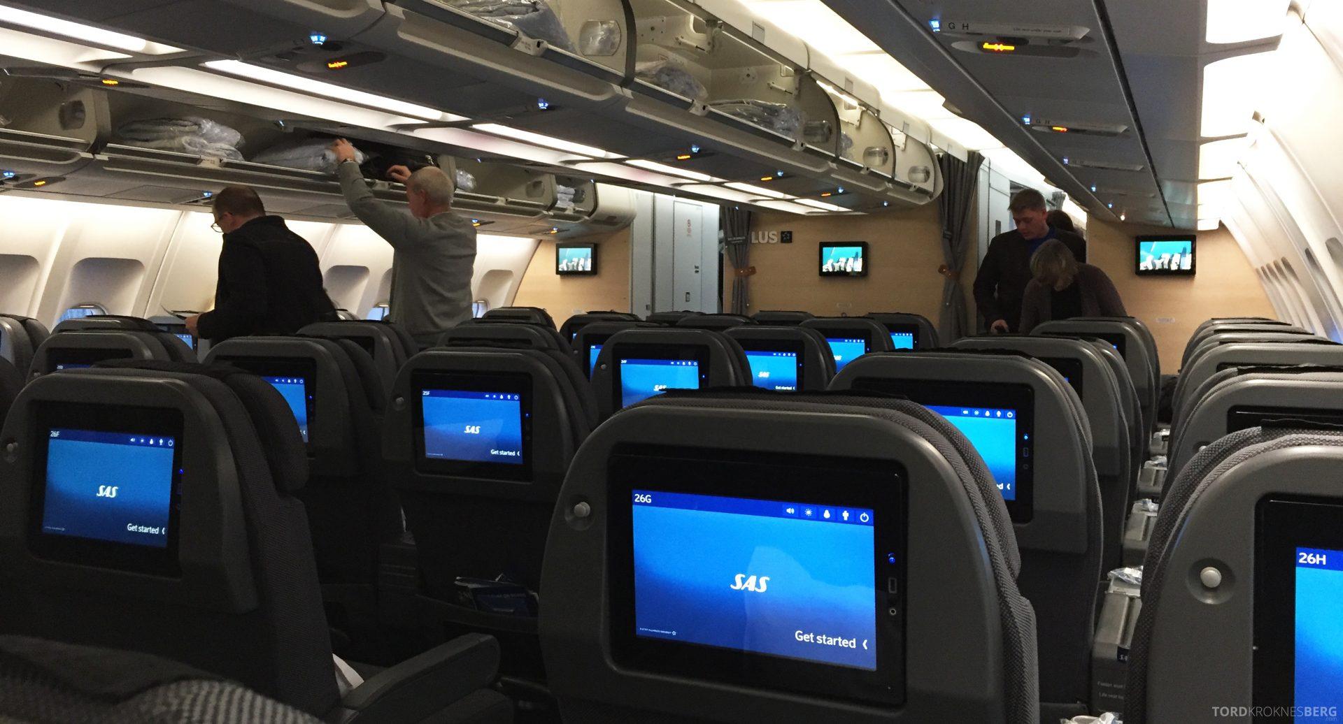 SAS Plus fra Oslo til New York kabin