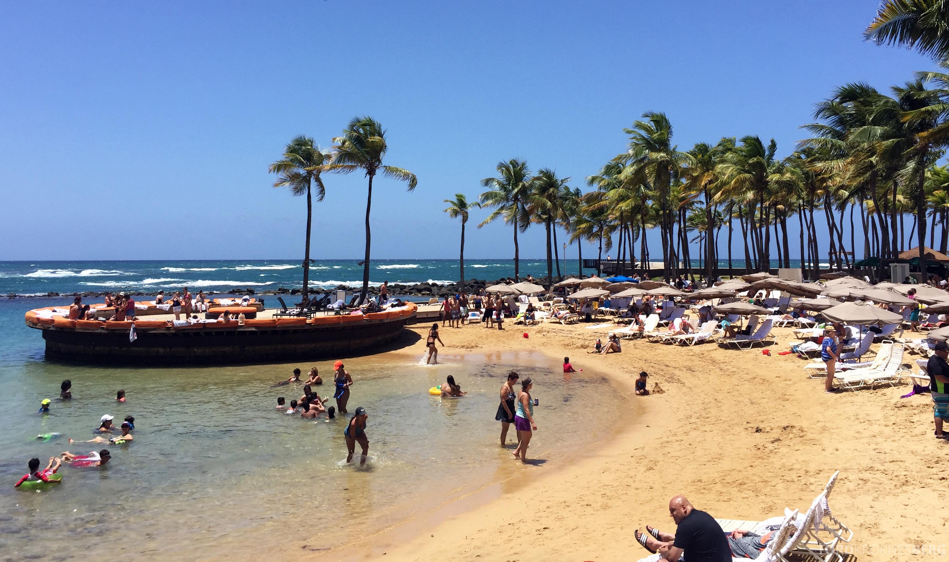 Caribe Hilton strand og solstoler