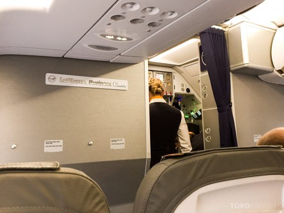 Lufthansa Business Class i Europa fra Oslo til München kabin