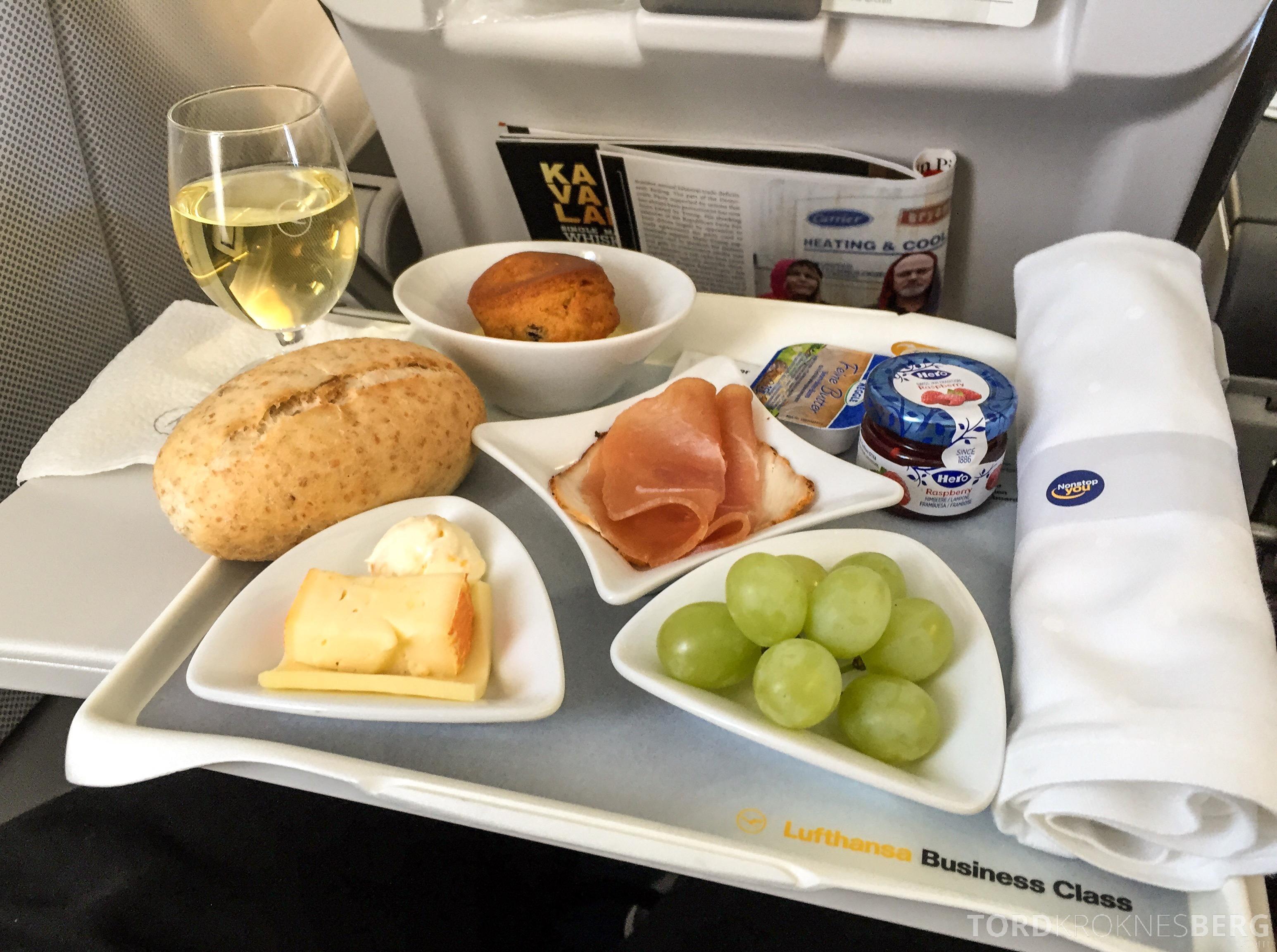 Lufthansa Business Class i Europa fra Oslo til München mat ombord