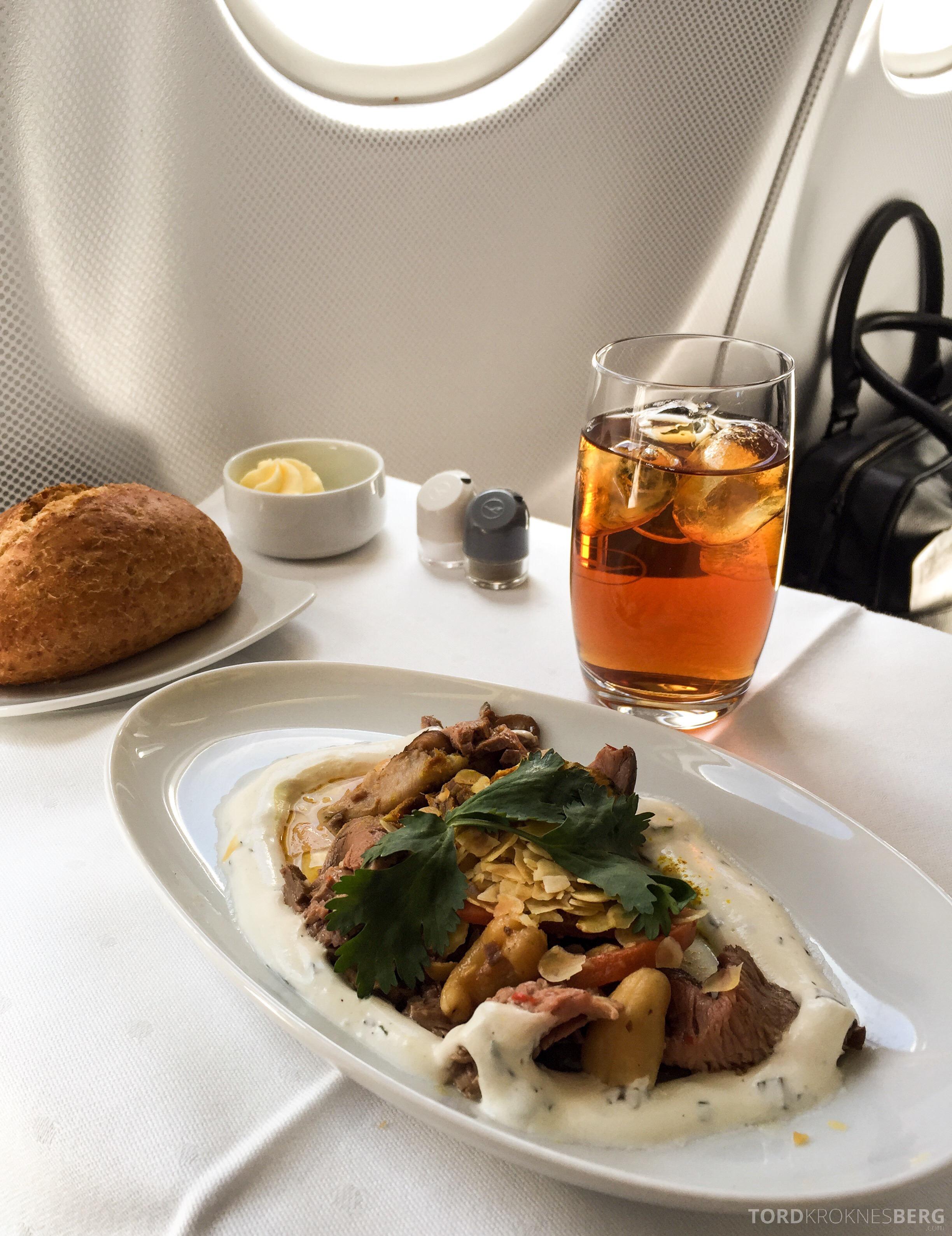 Lufthansa Business Class München til New York forrett