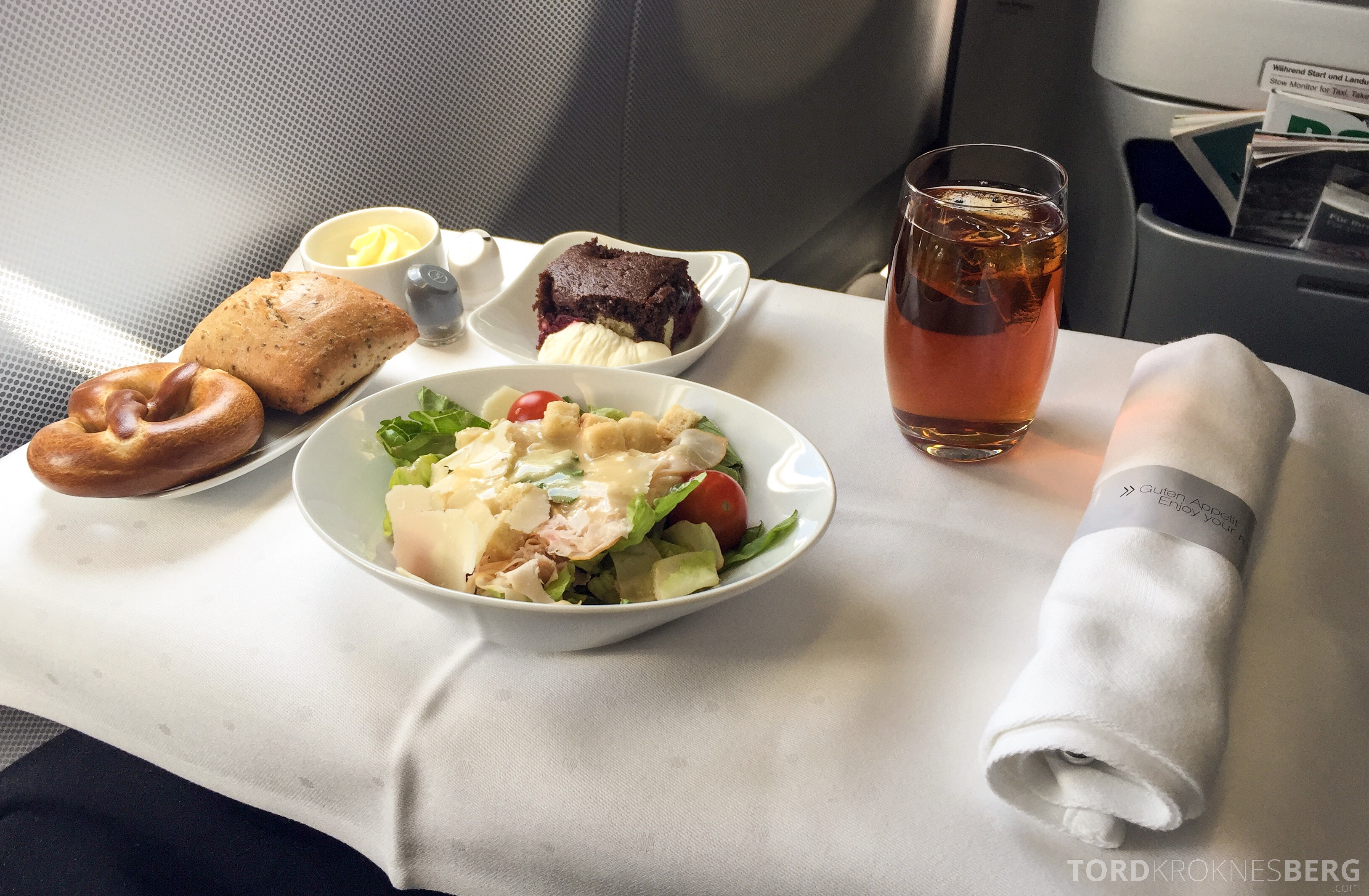 Lufthansa Business Class München til New York lunch