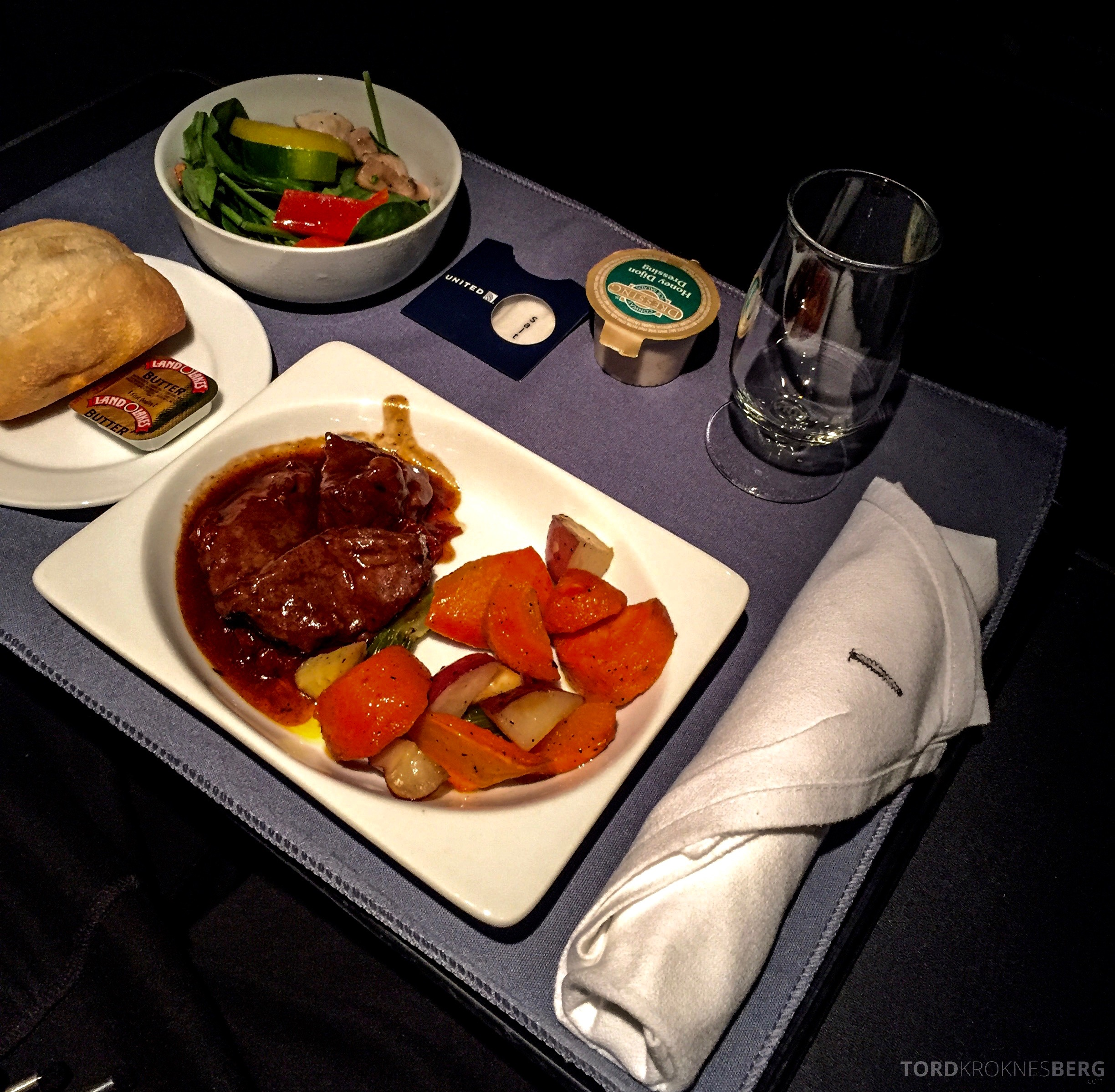 United Airlines Business Class middag