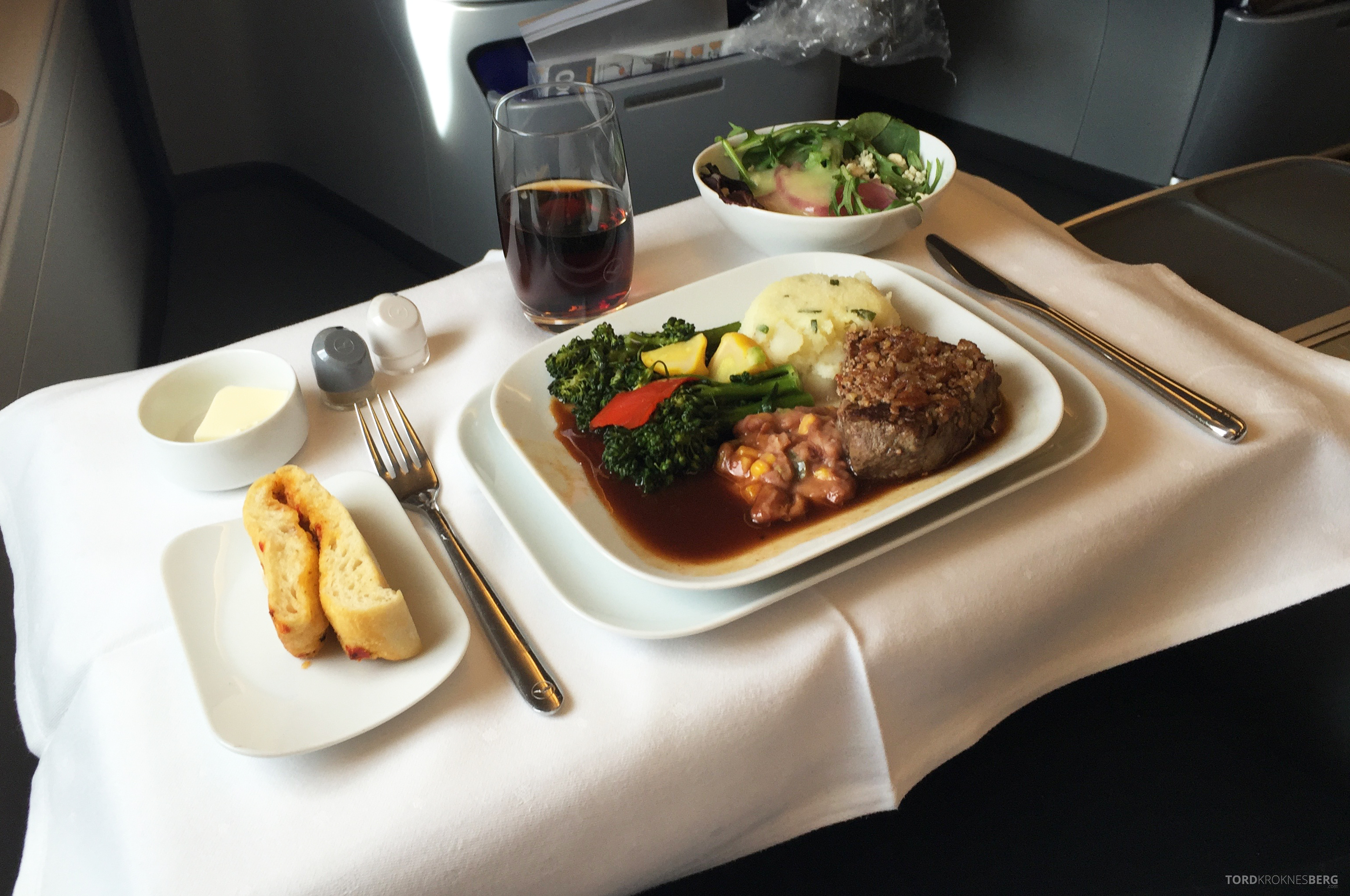 Lufthansa A380 Business Class Houston Frankfurt hovedrett