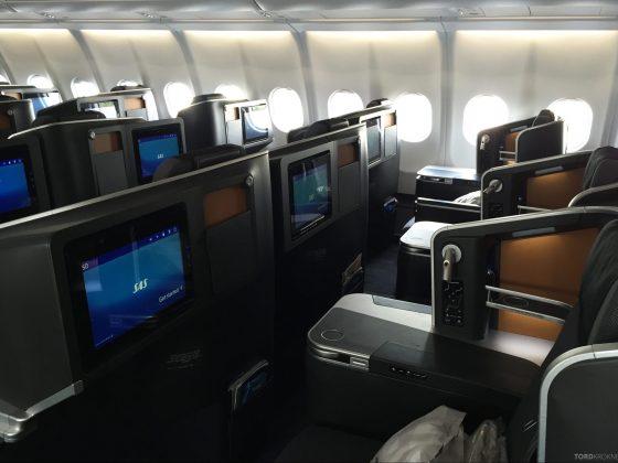 SAS Business Class fra Stockholm til Los Angeles kabin