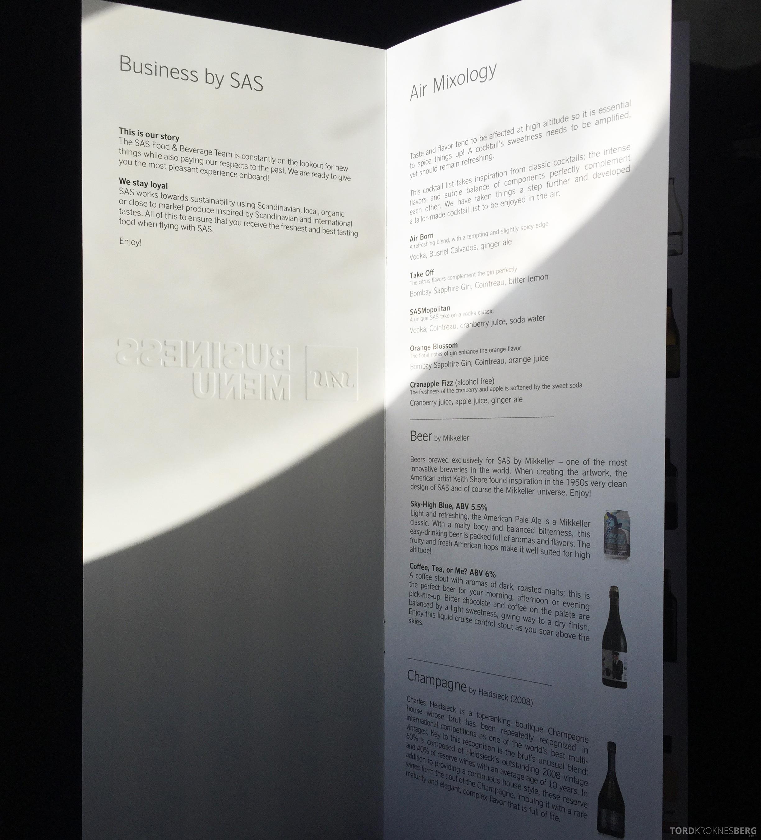 SAS Business Class fra Stockholm til Los Angeles drikkevarer