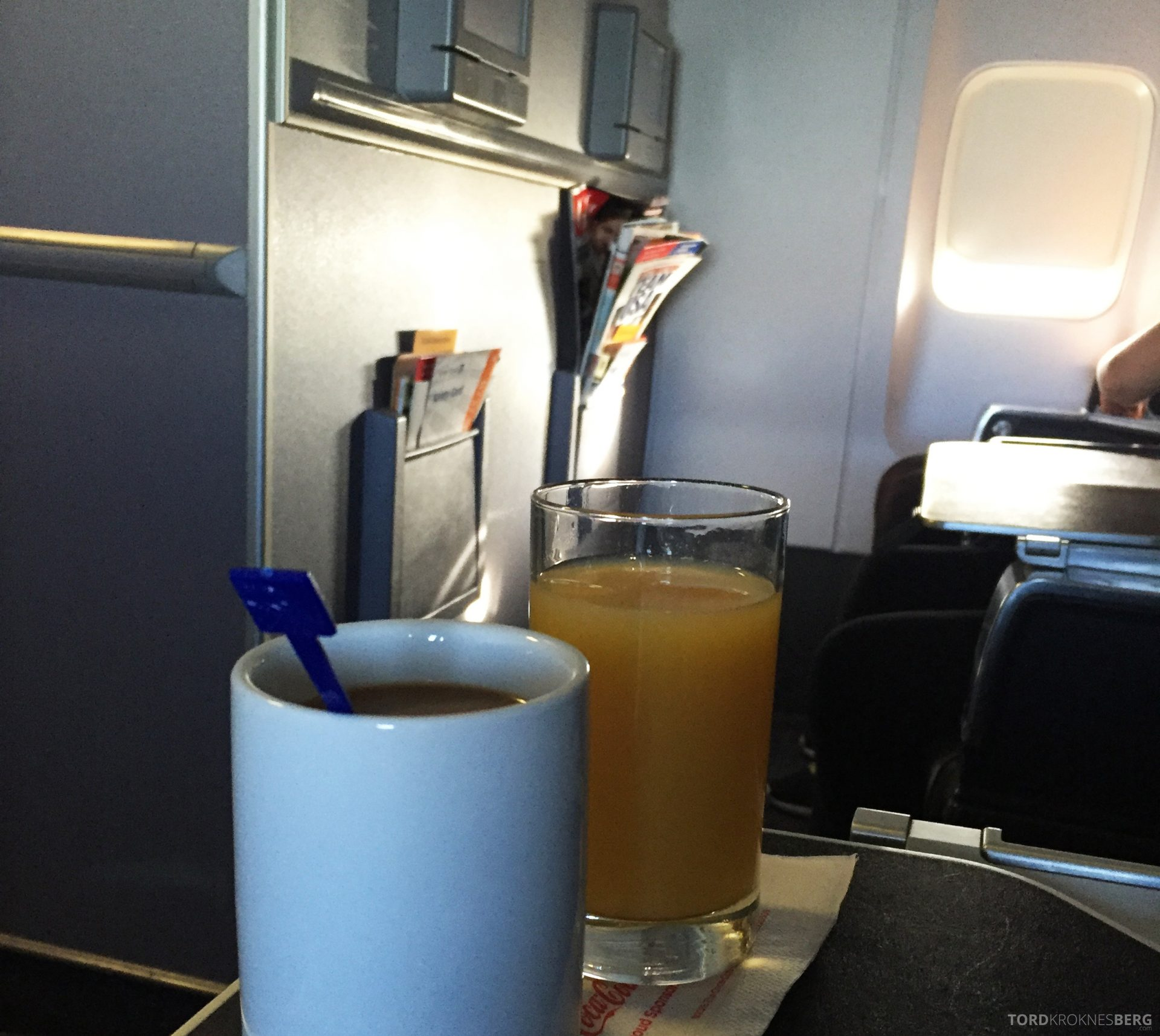 United Business Class San Juan til Houston drikke