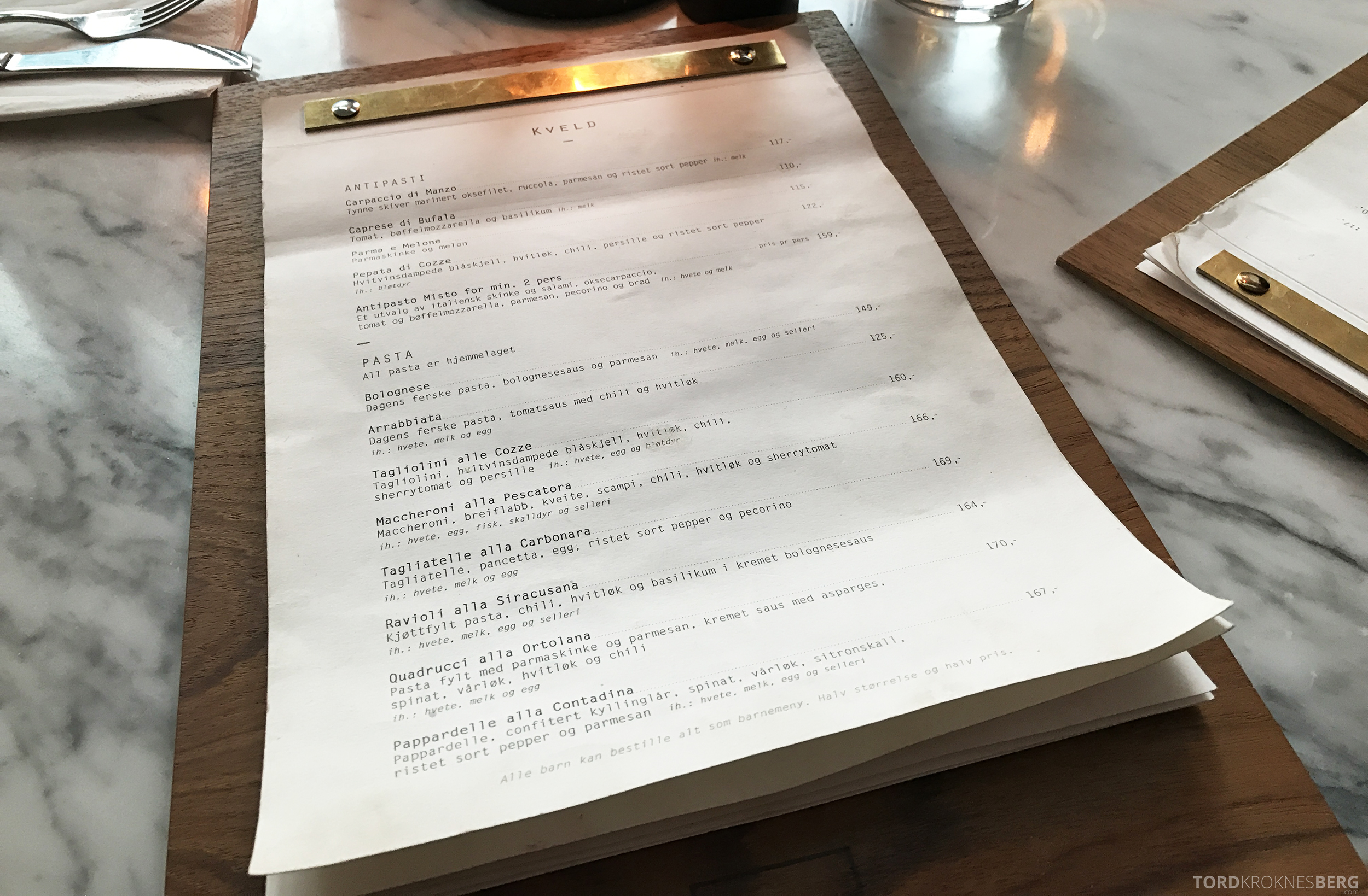 Restaurant Frati Trondheim meny