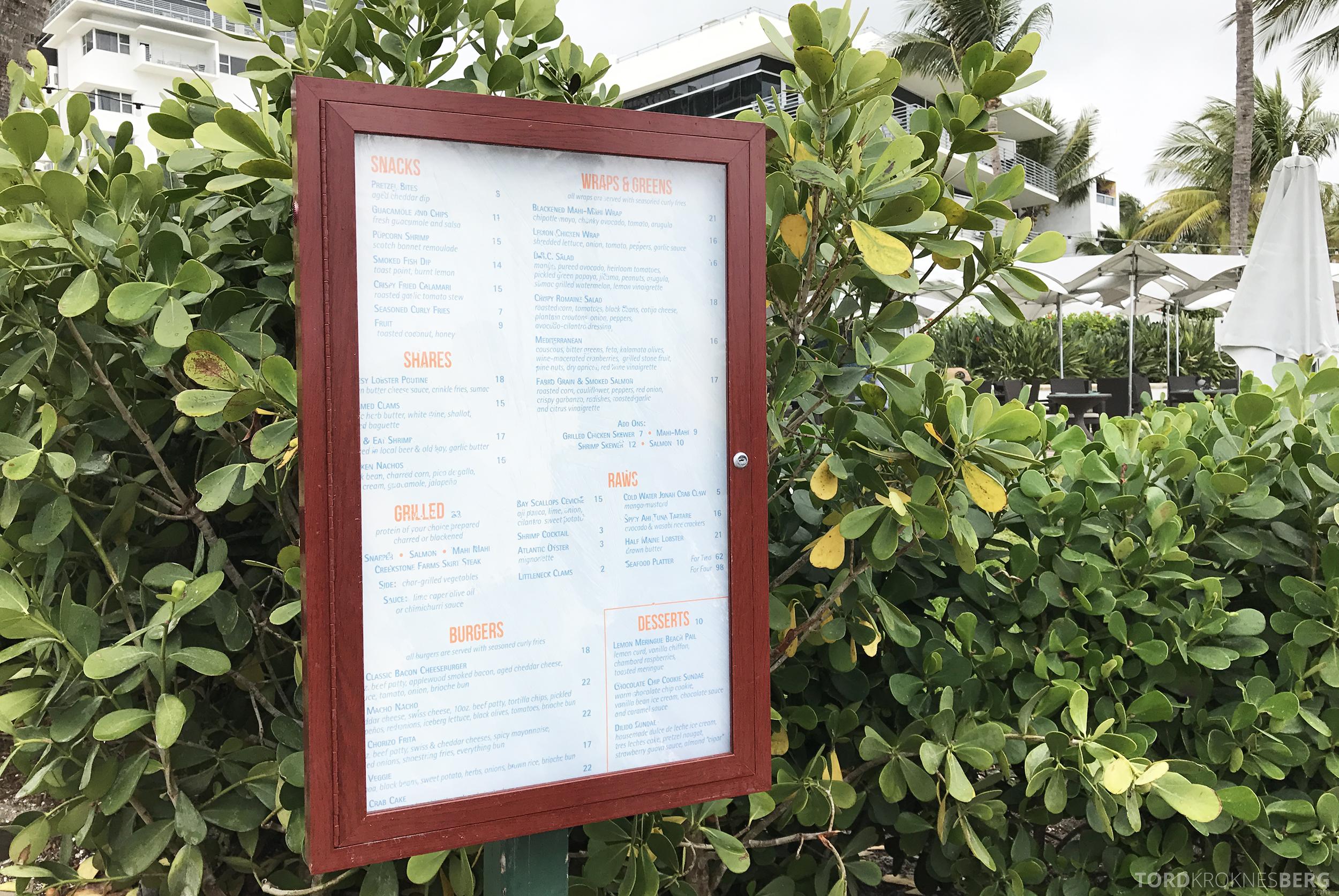 The Ritz Carlton South Beach Miami Dilido Beach Club meny