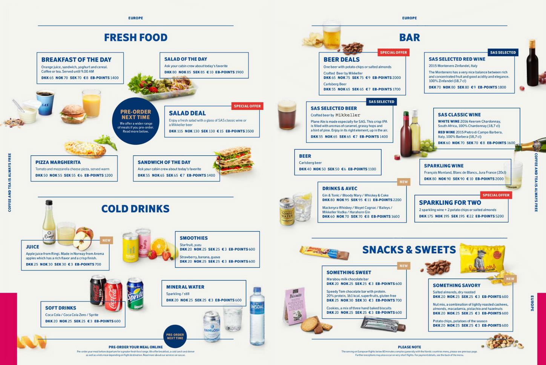 SAS mat og meny Europa