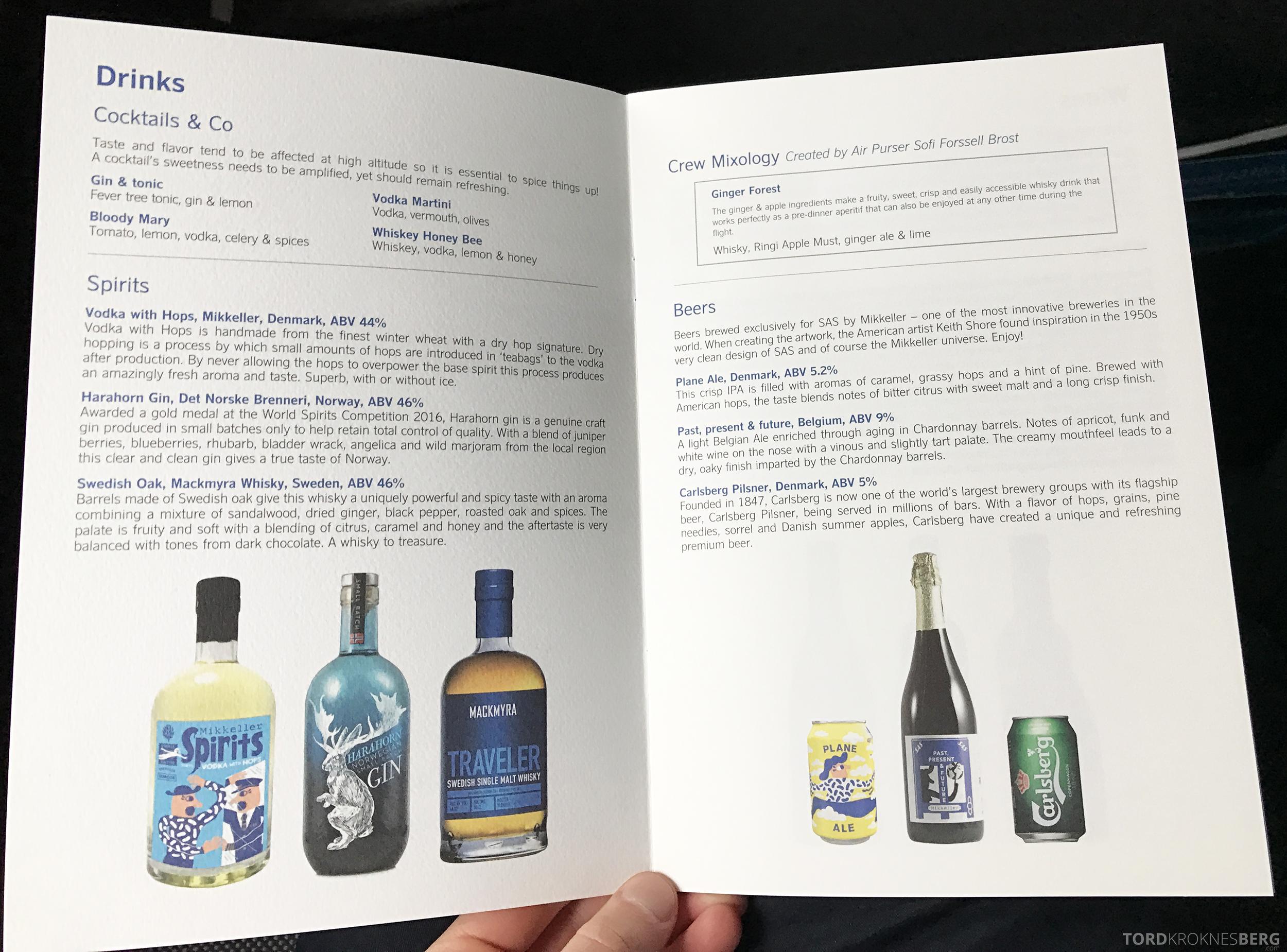 SAS Business Oslo til Miami meny drikke
