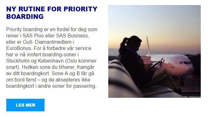SAS priority boarding