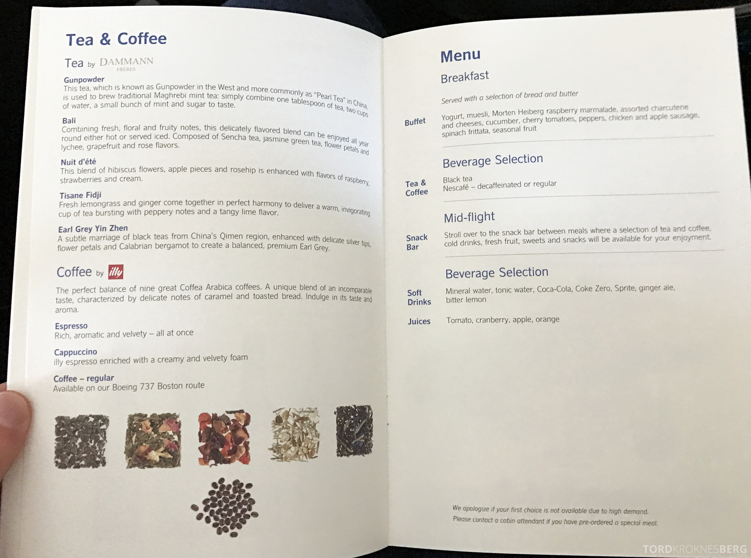 SAS Business Class Miami Oslo meny kaffe og te