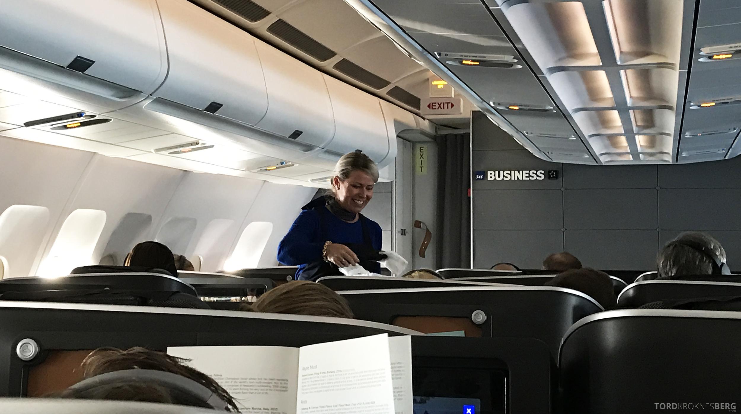 SAS Business Class Miami Oslo varm klut