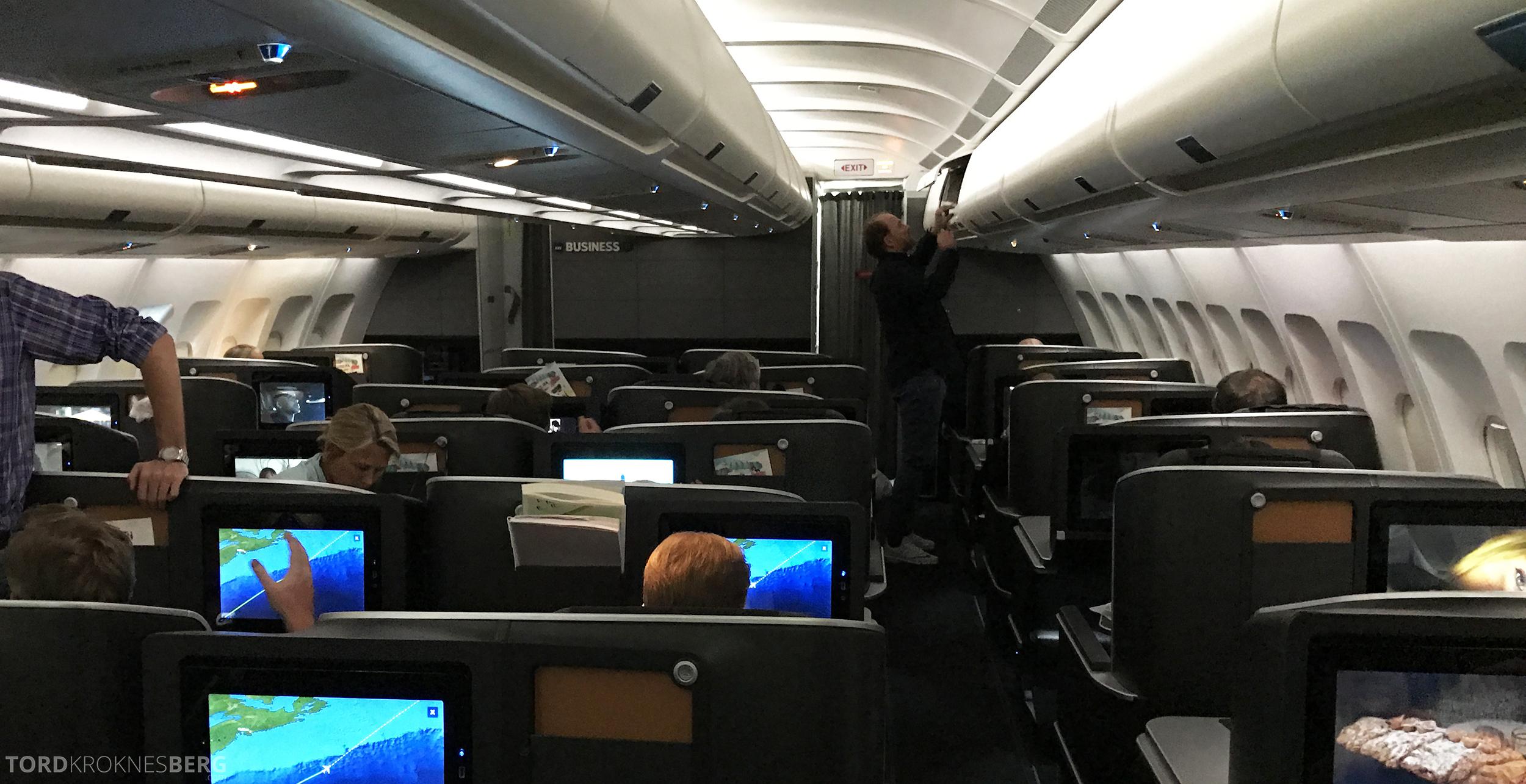 SAS Business Class Miami Oslo kabin sove