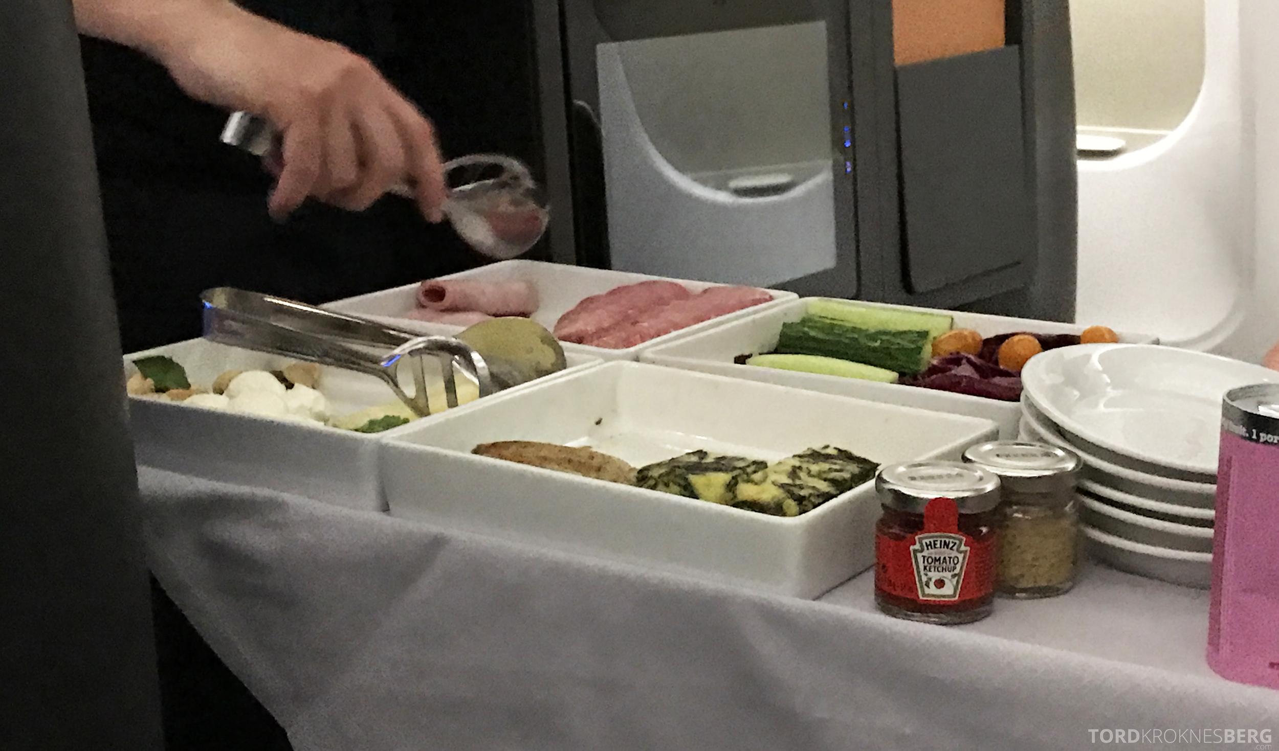 SAS Business Class Miami Oslo frokostservering