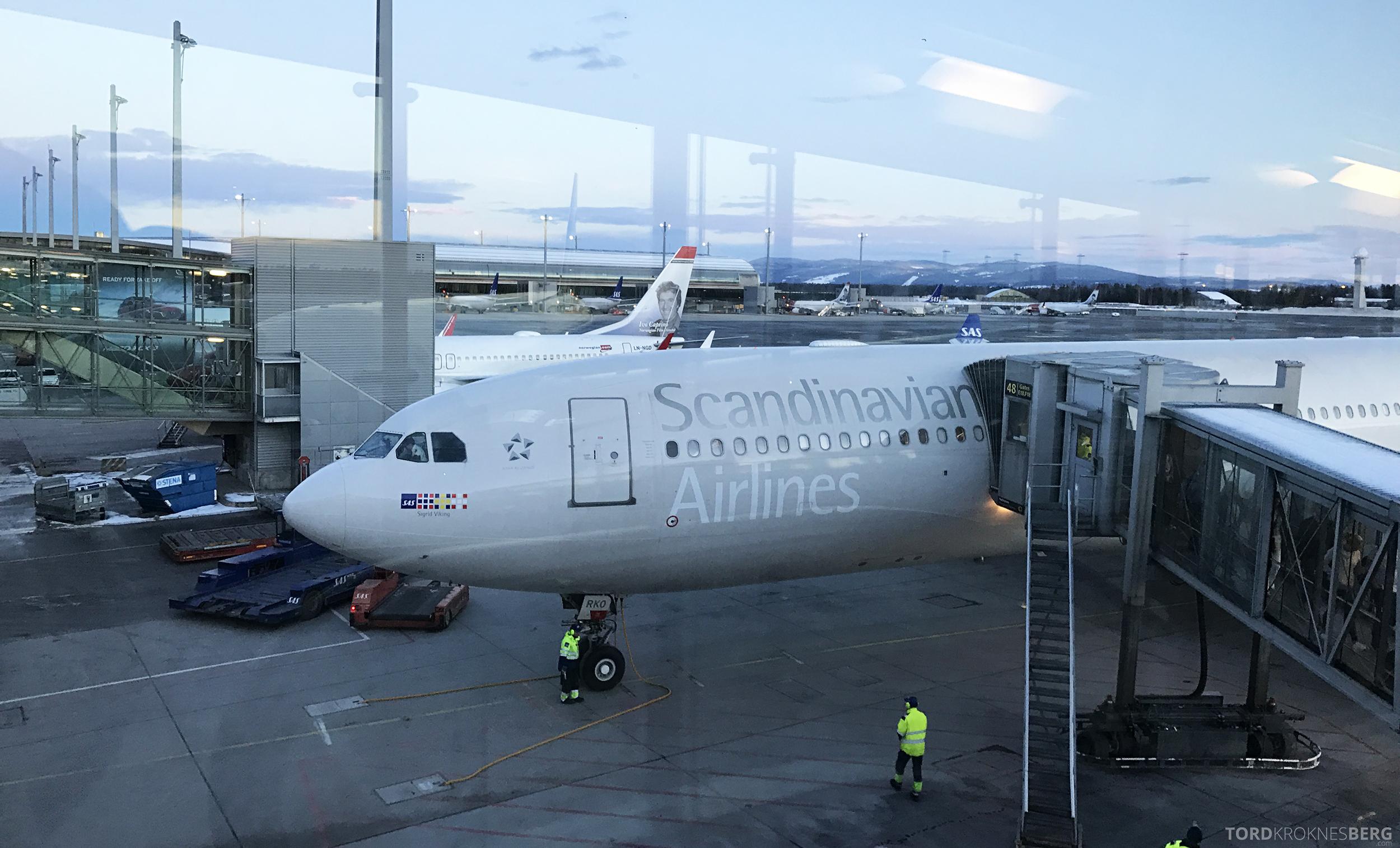 SAS Business Class Miami Oslo flyet parkert