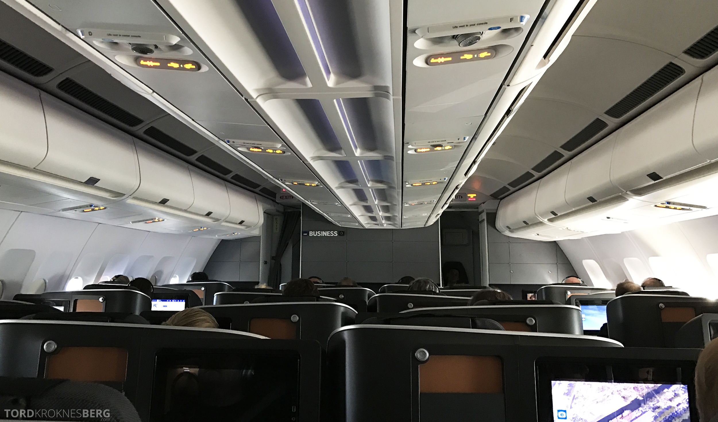 SAS Business Class Miami Oslo kabin