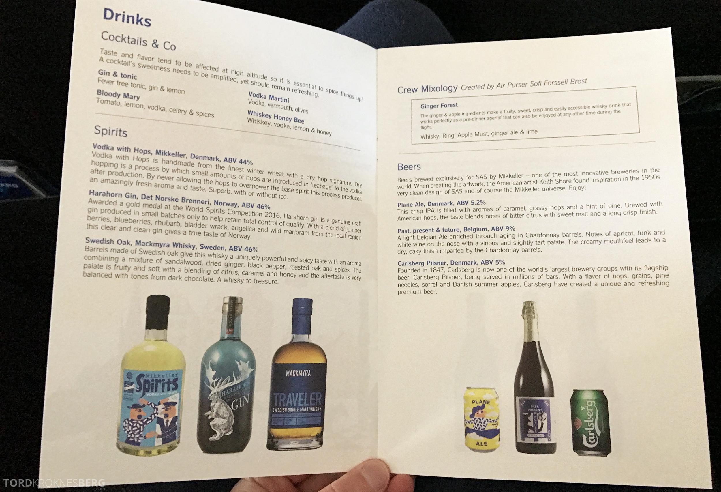 SAS Business Class Miami Oslo meny drikke
