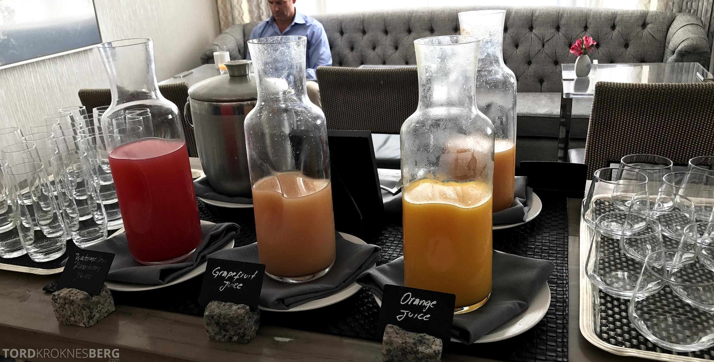 Ritz-Carlton San Francisco Hotel Club Lounge frokost juice
