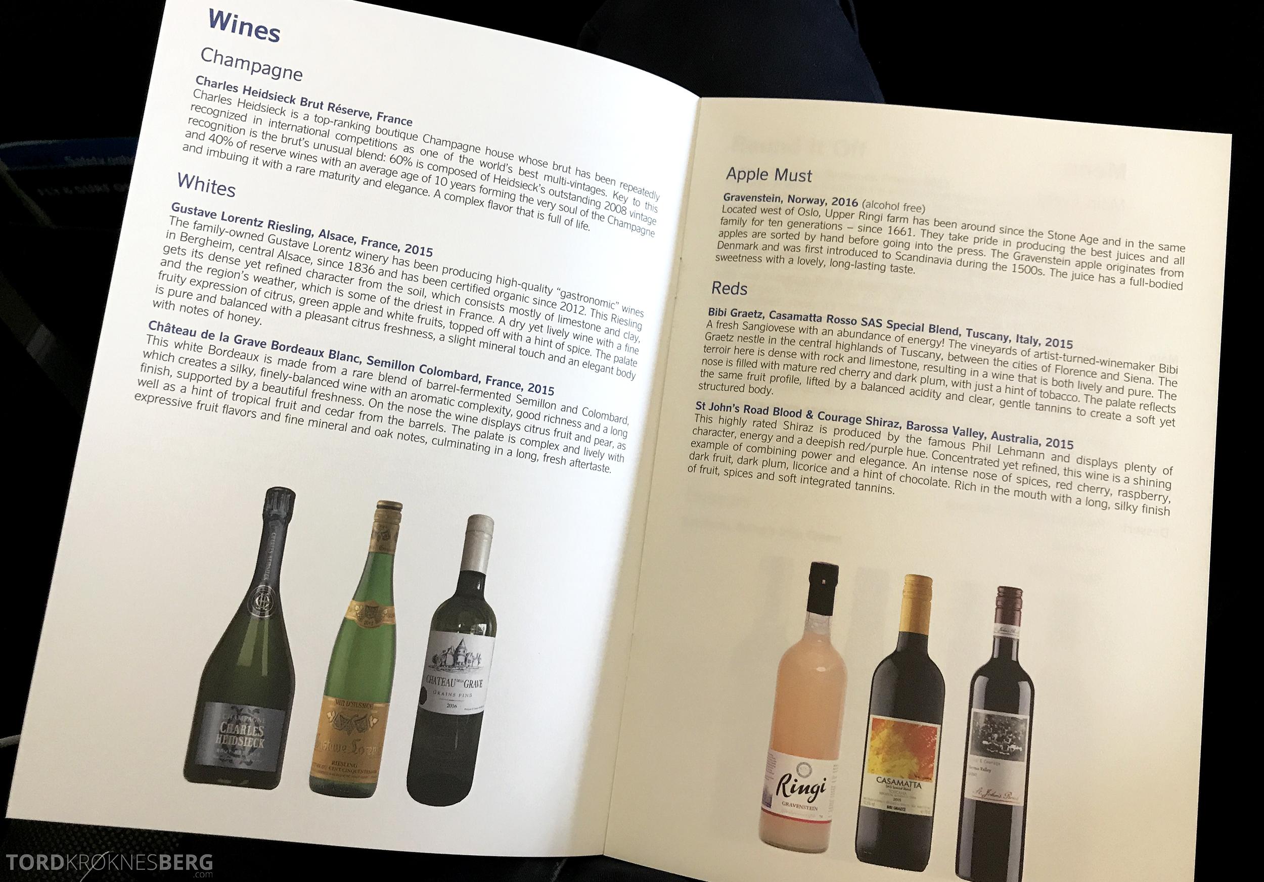 SAS Business Class San Francisco meny vin