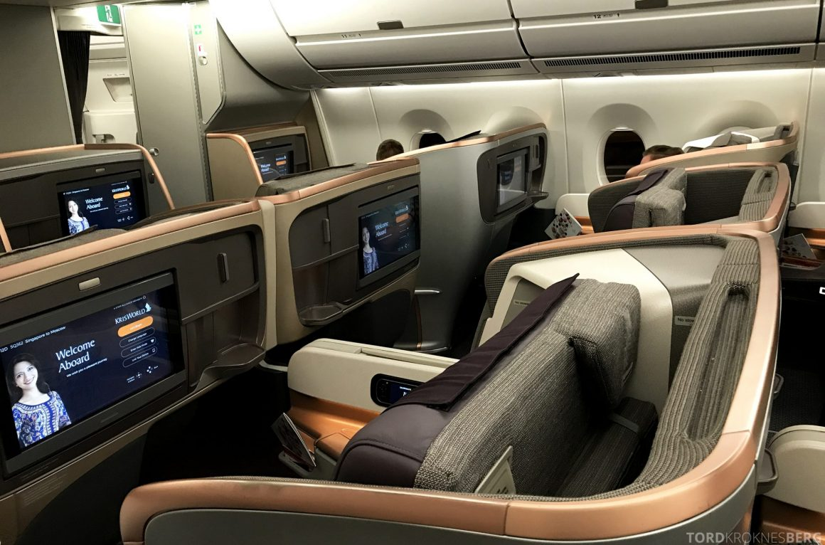 Singapore Airlines Business Class Moskva Stockholm seter