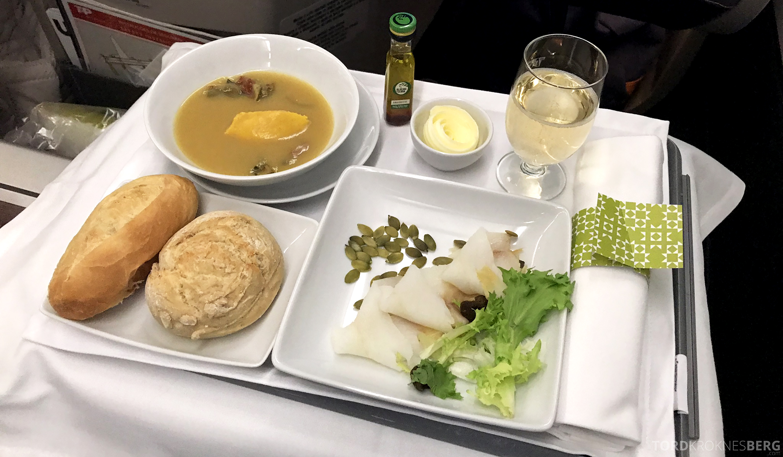 TAP Portugal Business Class Lisbon New York kveite forrett