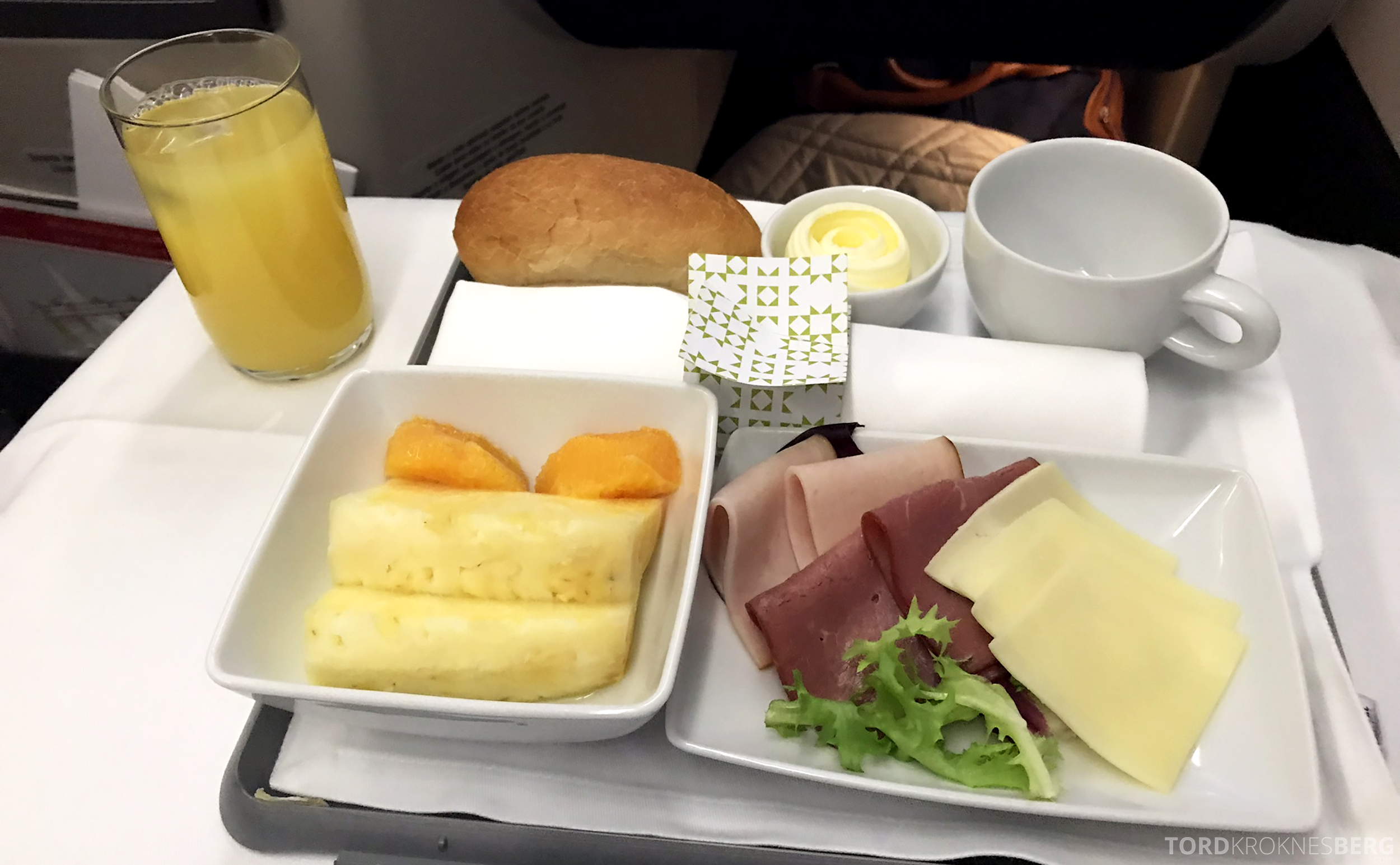 TAP Portugal Business Class Lisbon New York frokost