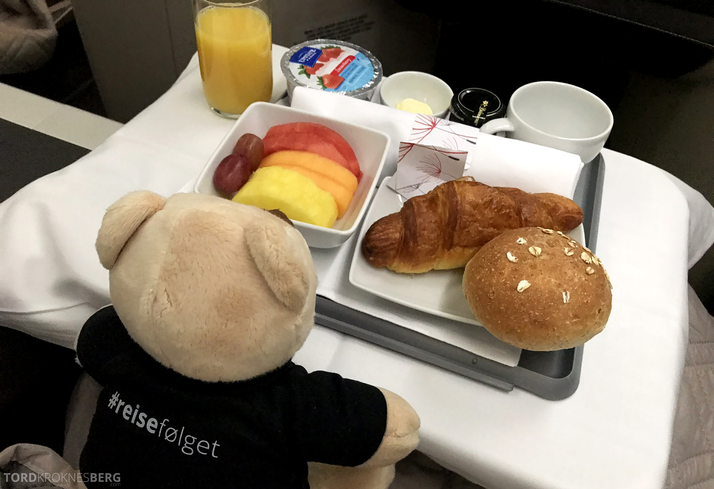 TAP Portugal Business Class New York Lisbon reisefølget frokost
