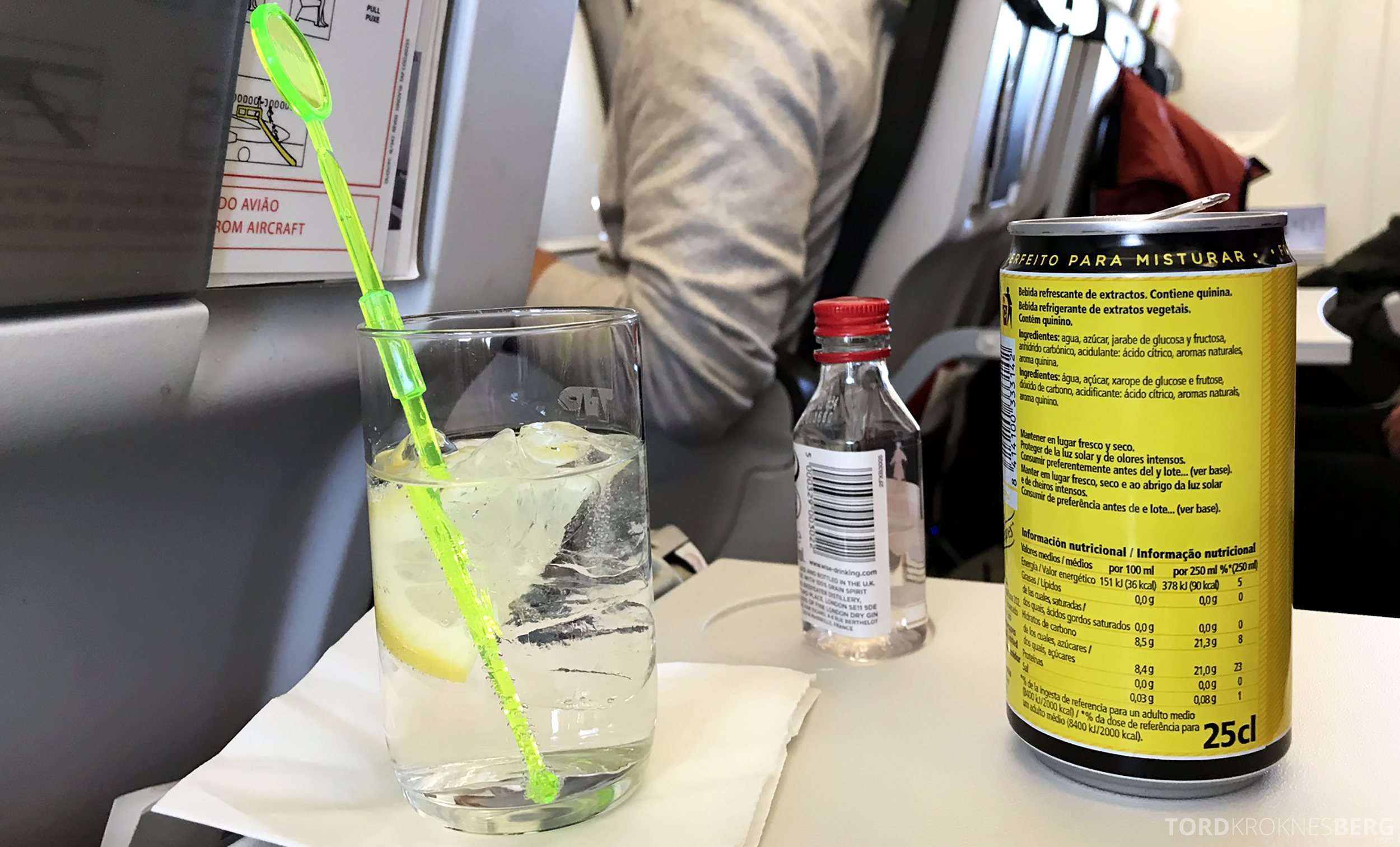 TAP Portugal Oslo Lisboa gin tonic