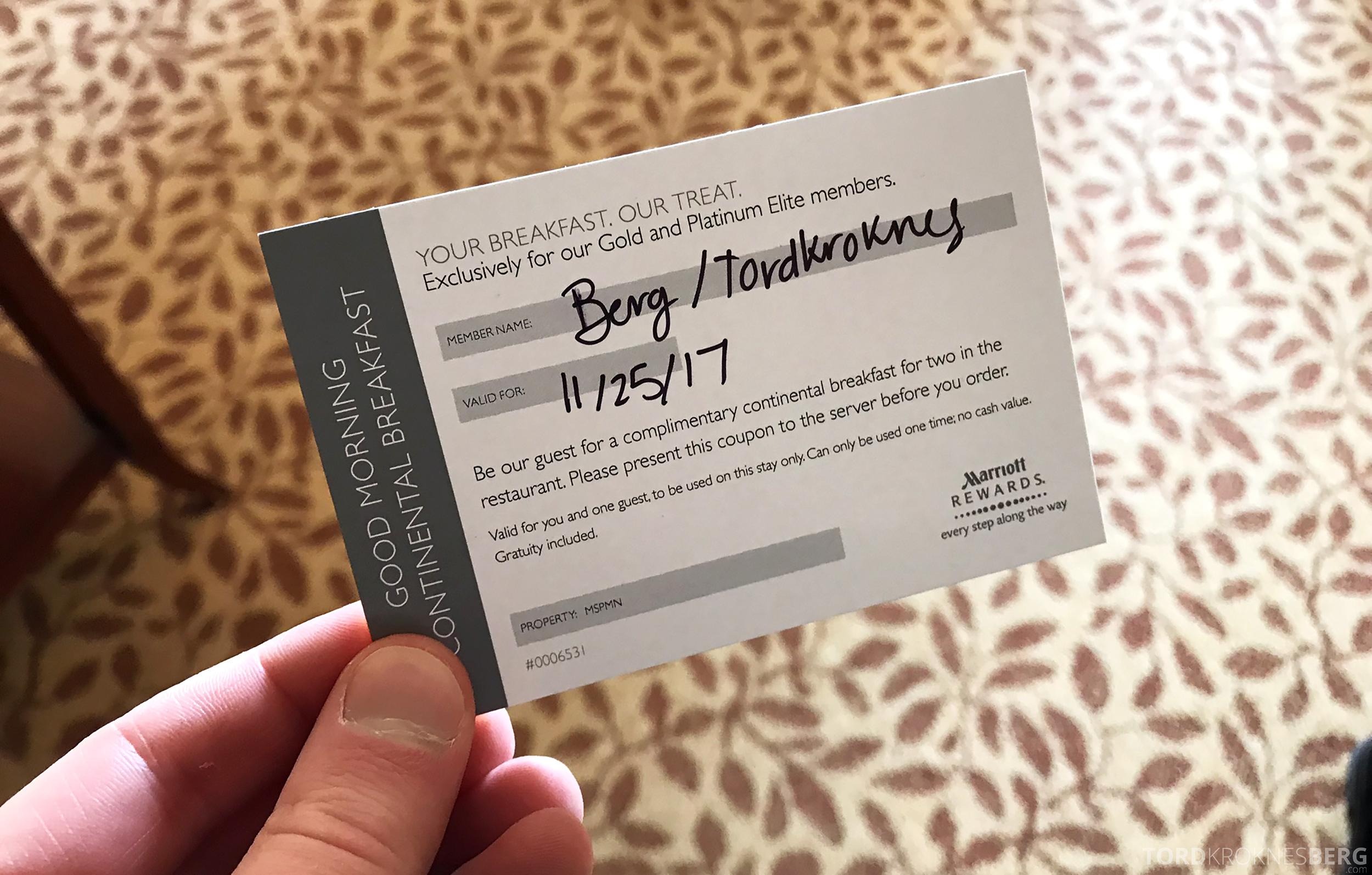 Marriott Bloomington Hotel frokostvoucher