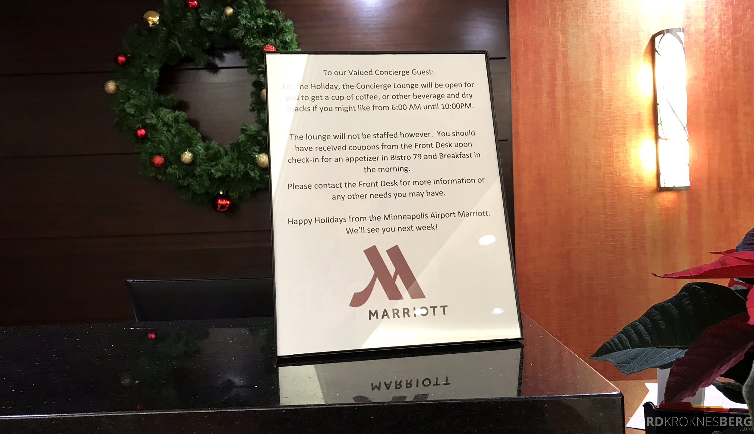 Marriott Bloomington Hotel lounge informasjon