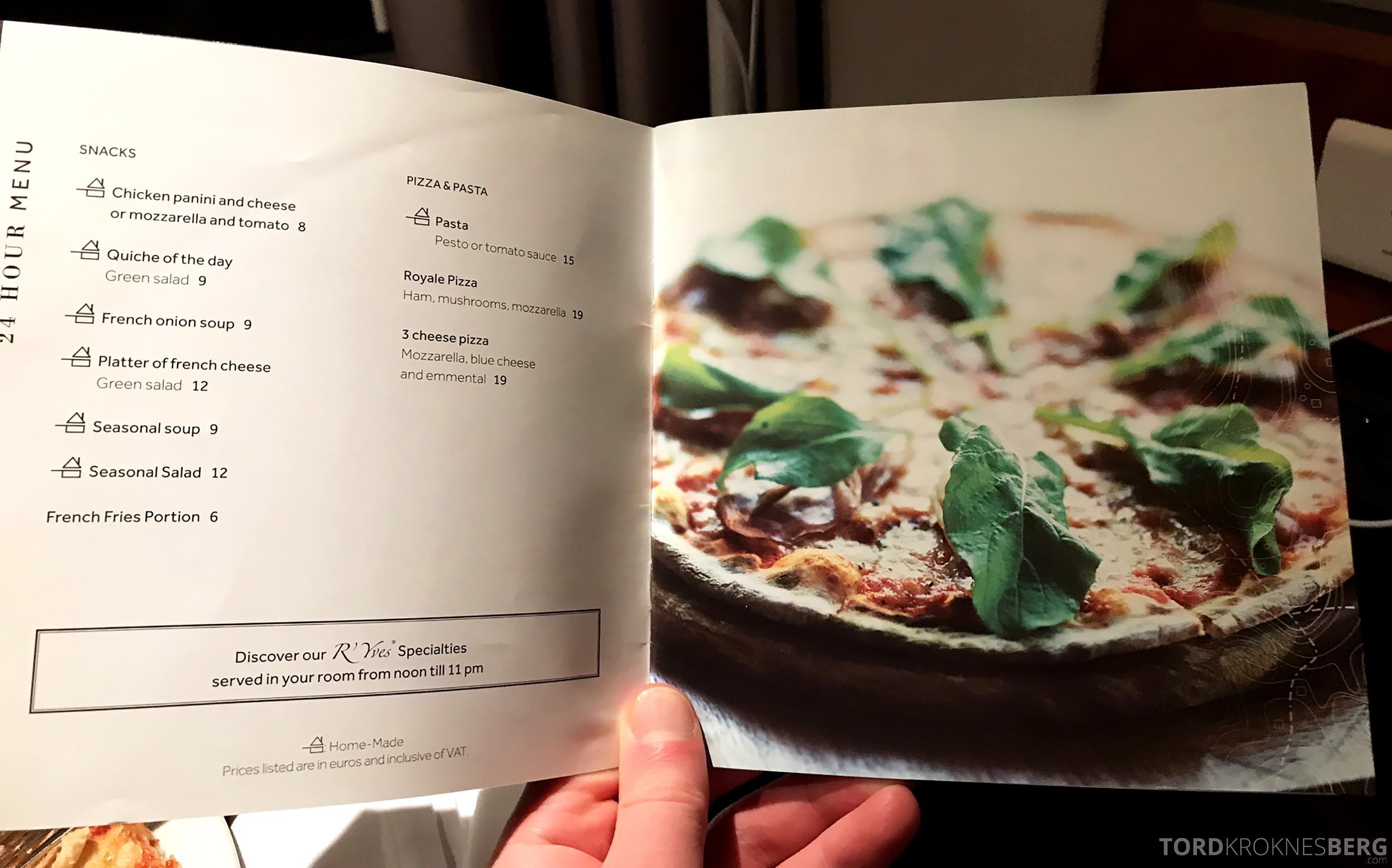 Marriott Paris Rive Gauche pizza meny