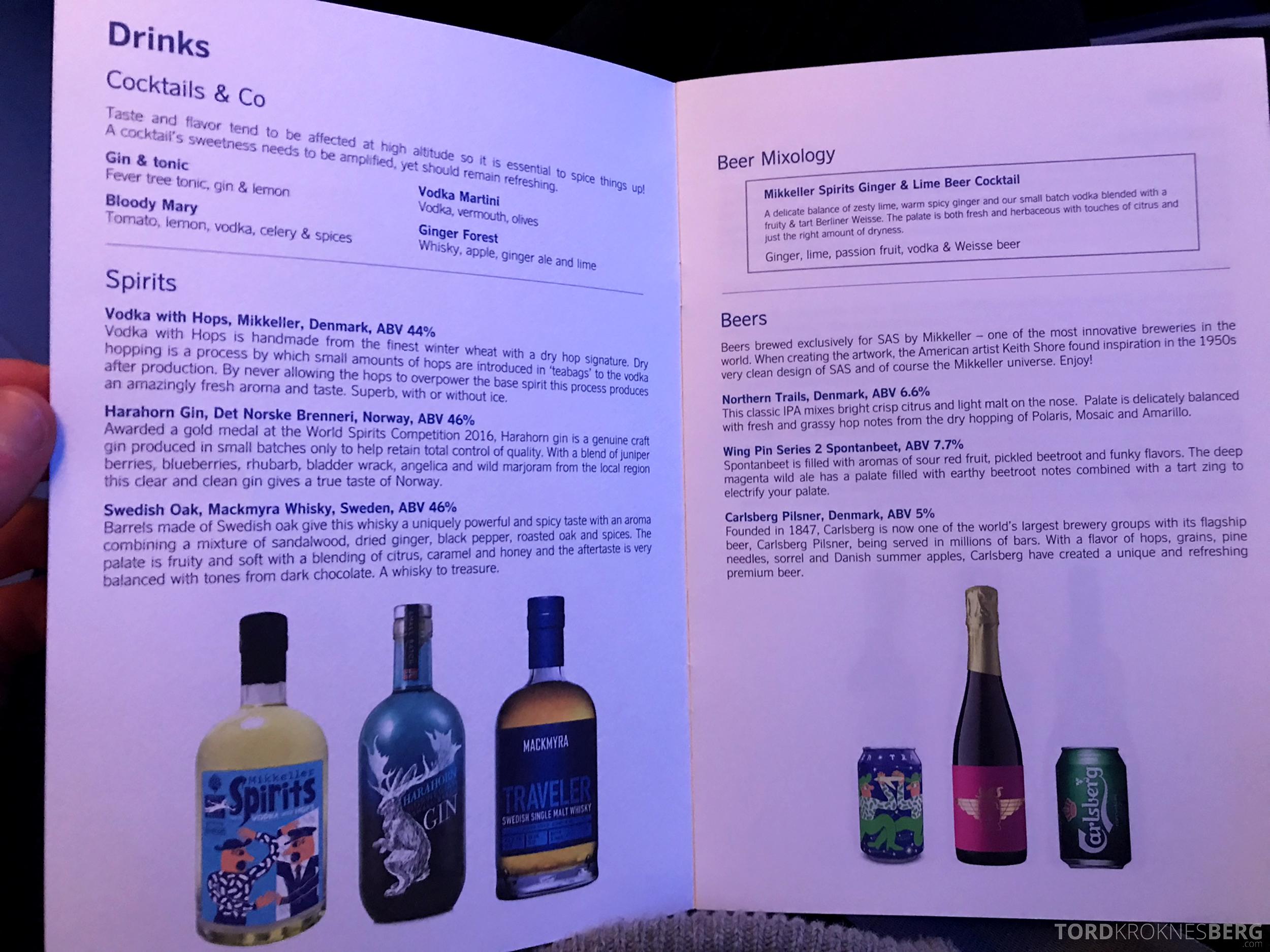SAS Business Chicago Oslo meny drikke