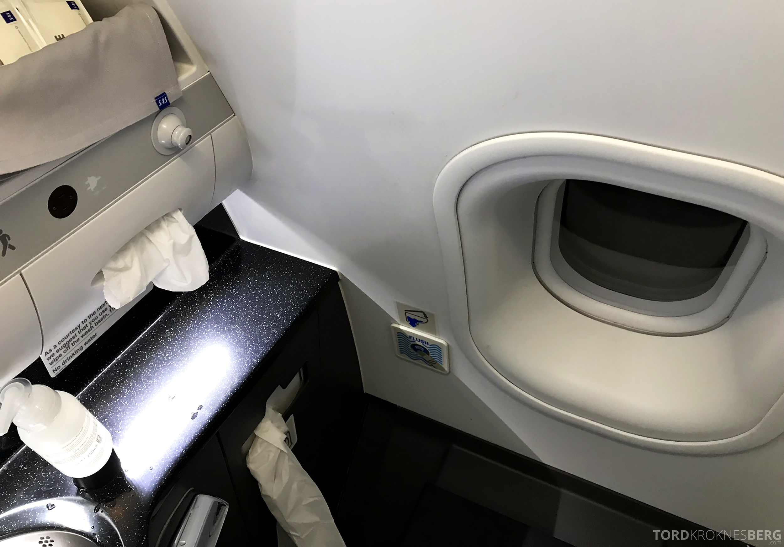 SAS Business Class Stockholm Chicago toalett