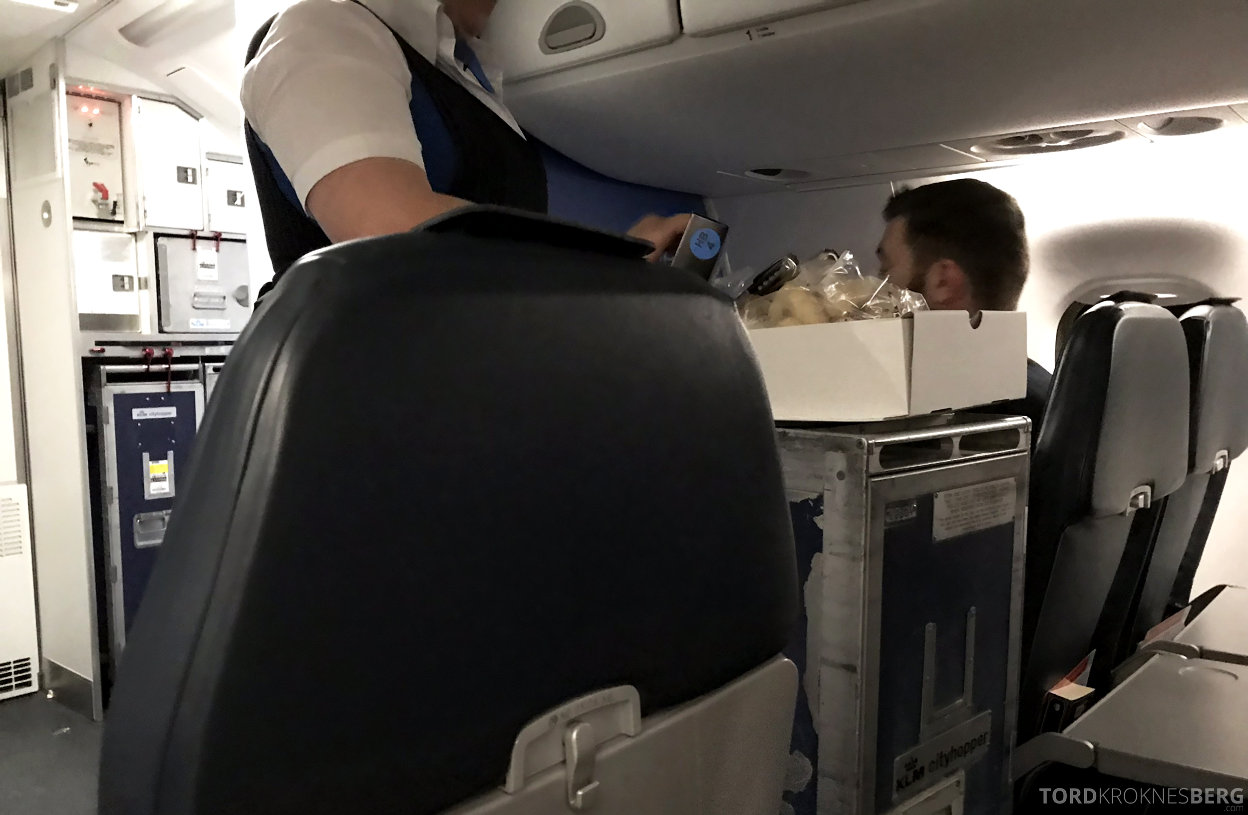 KLM Business Class Trondheim Amsterdam servering