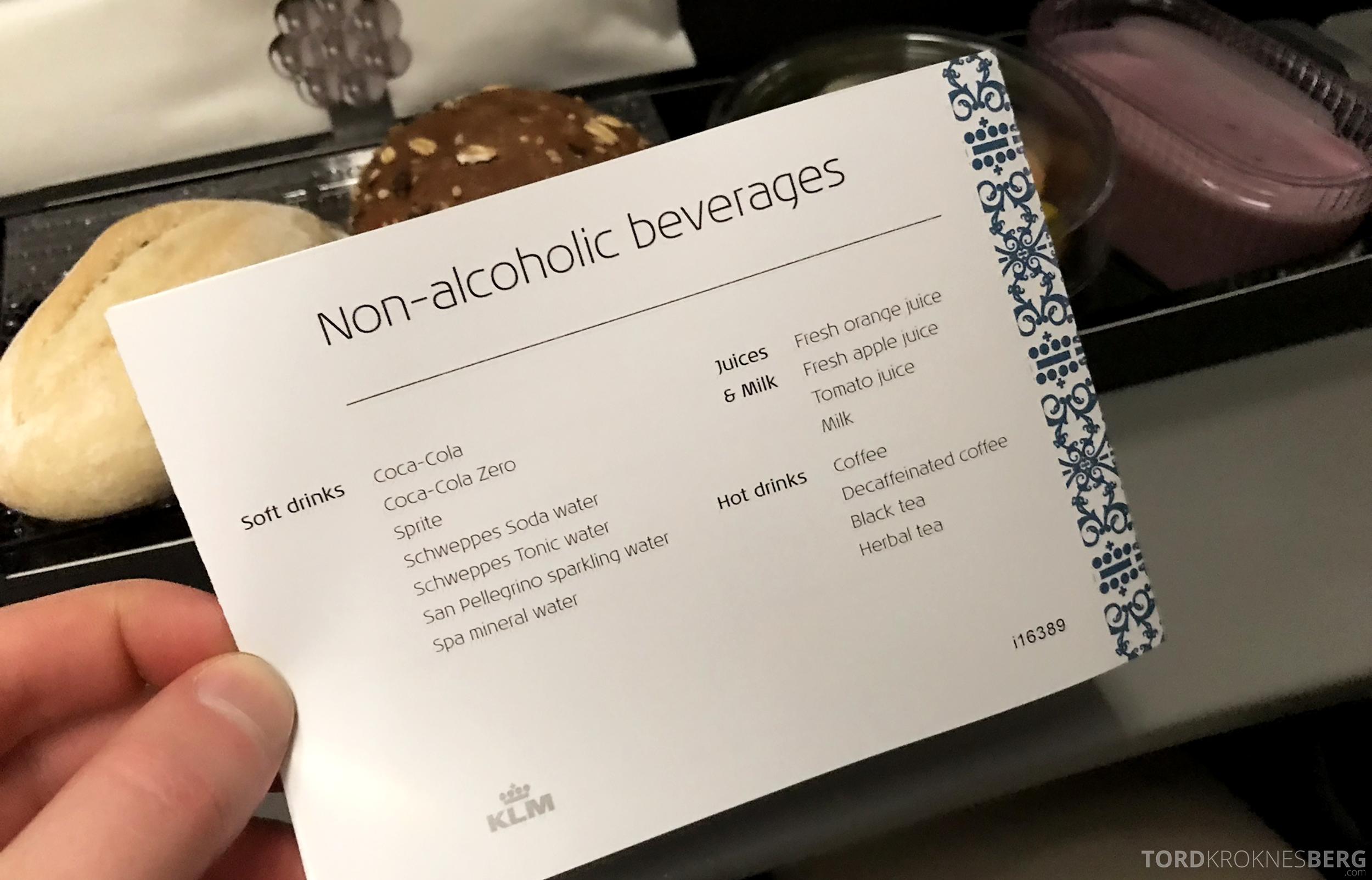 KLM Business Class Trondheim Amsterdam drikke