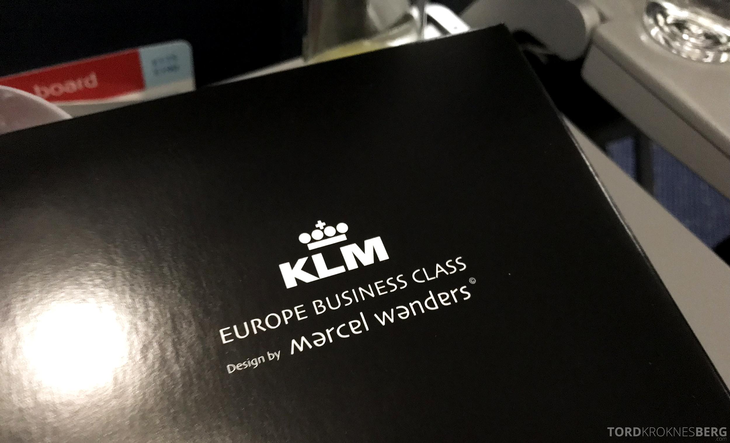 KLM Business Class Trondheim Amsterdam innpakning
