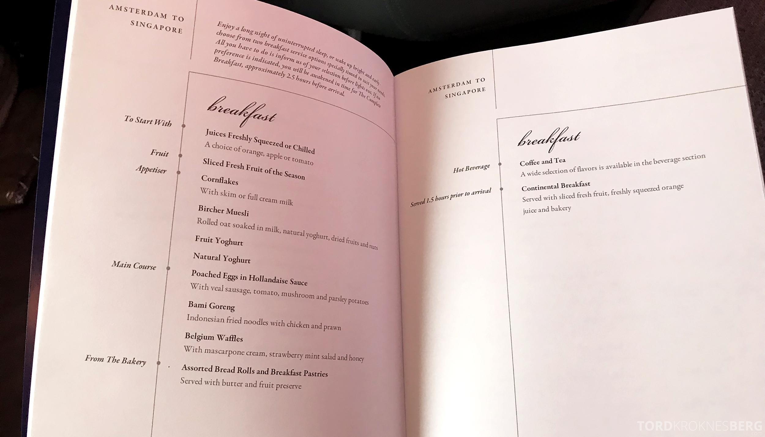Singapore Airlines Business Class Amsterdam Singapore meny frokost