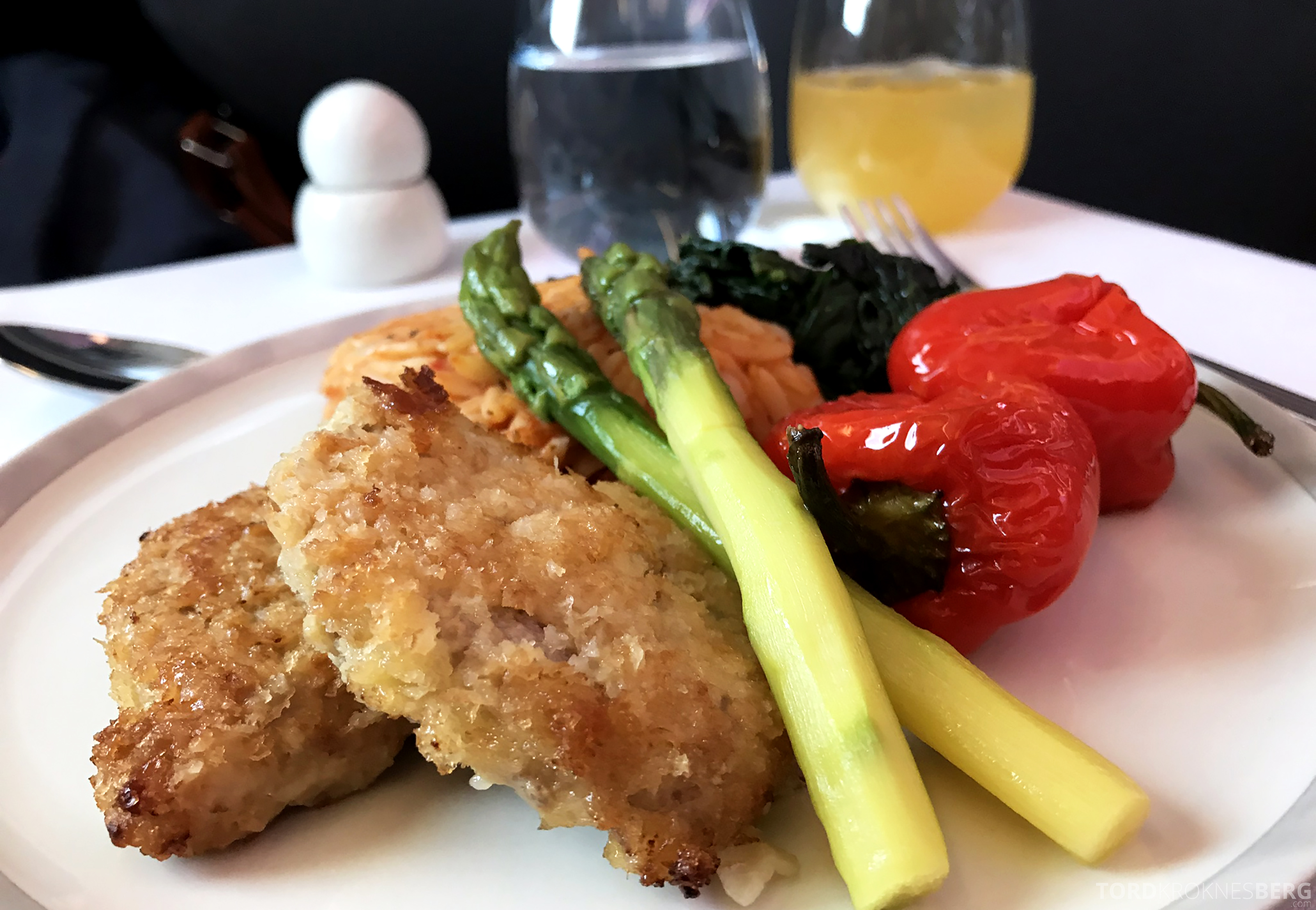 Singapore Airlines Business Class Amsterdam Singapore schnitzel hovedrett