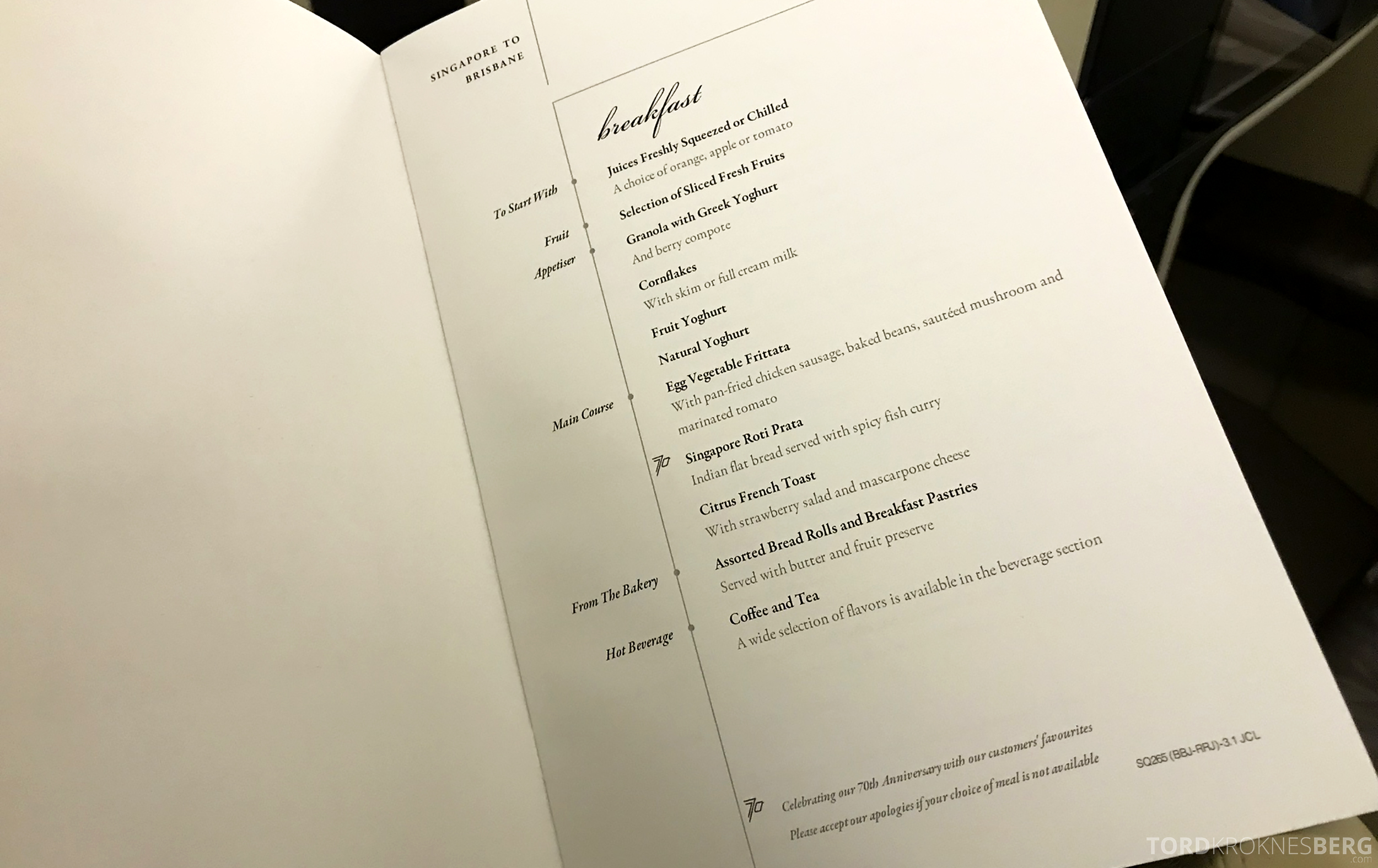 Singapore Airlines Business Class Brisbane frokost meny