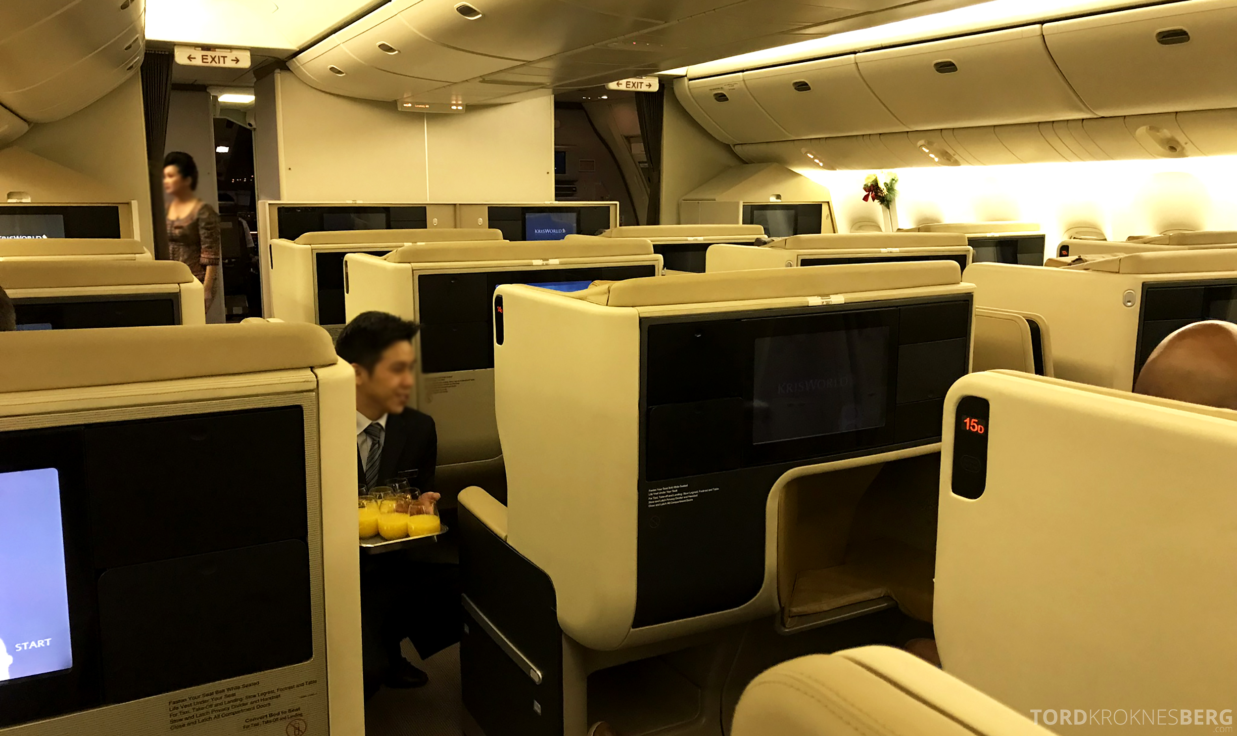 Singapore Airlines Business Class Brisbane velkomstdrink