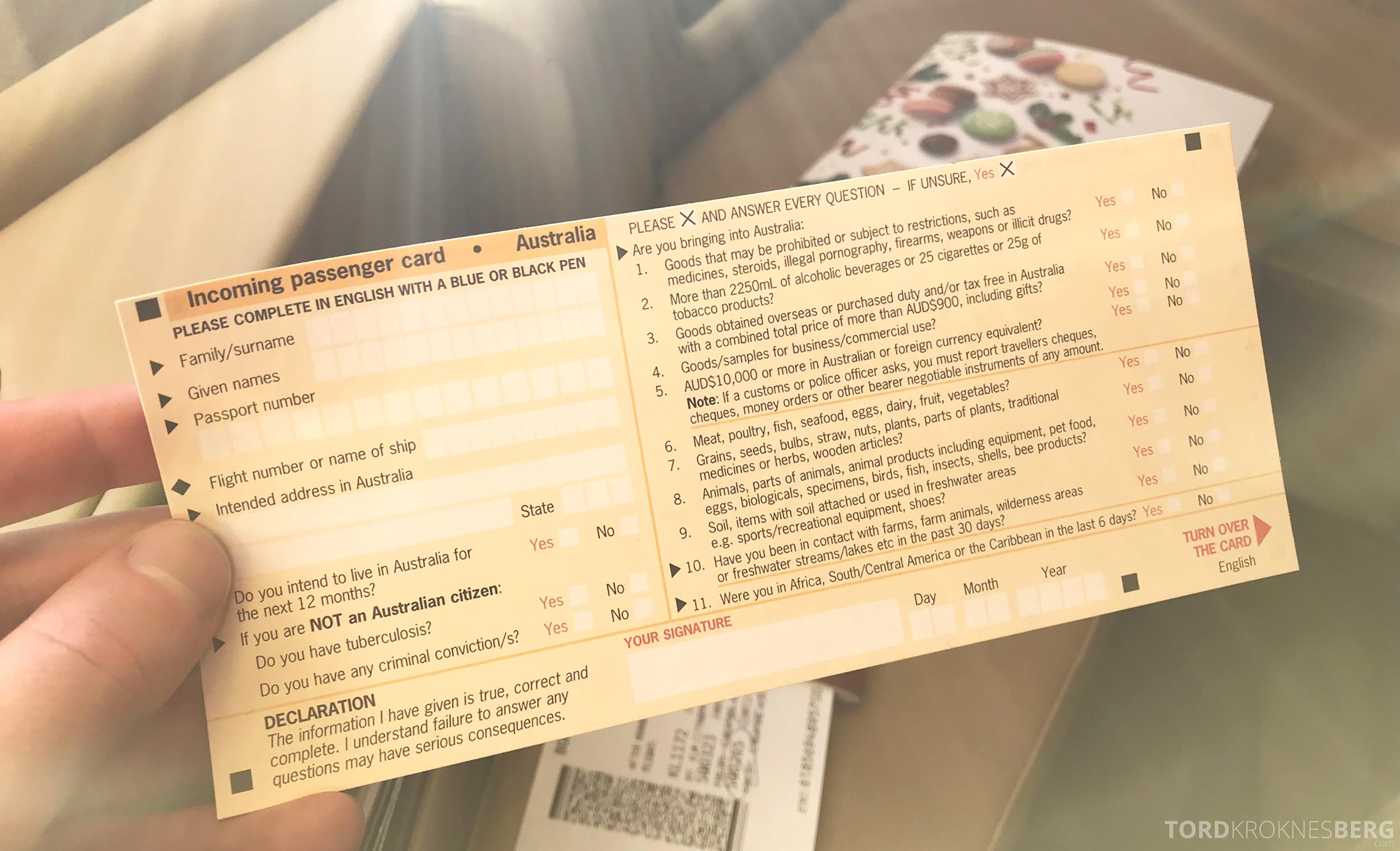 Singapore Airlines Business Class Brisbane immigrasjonskort