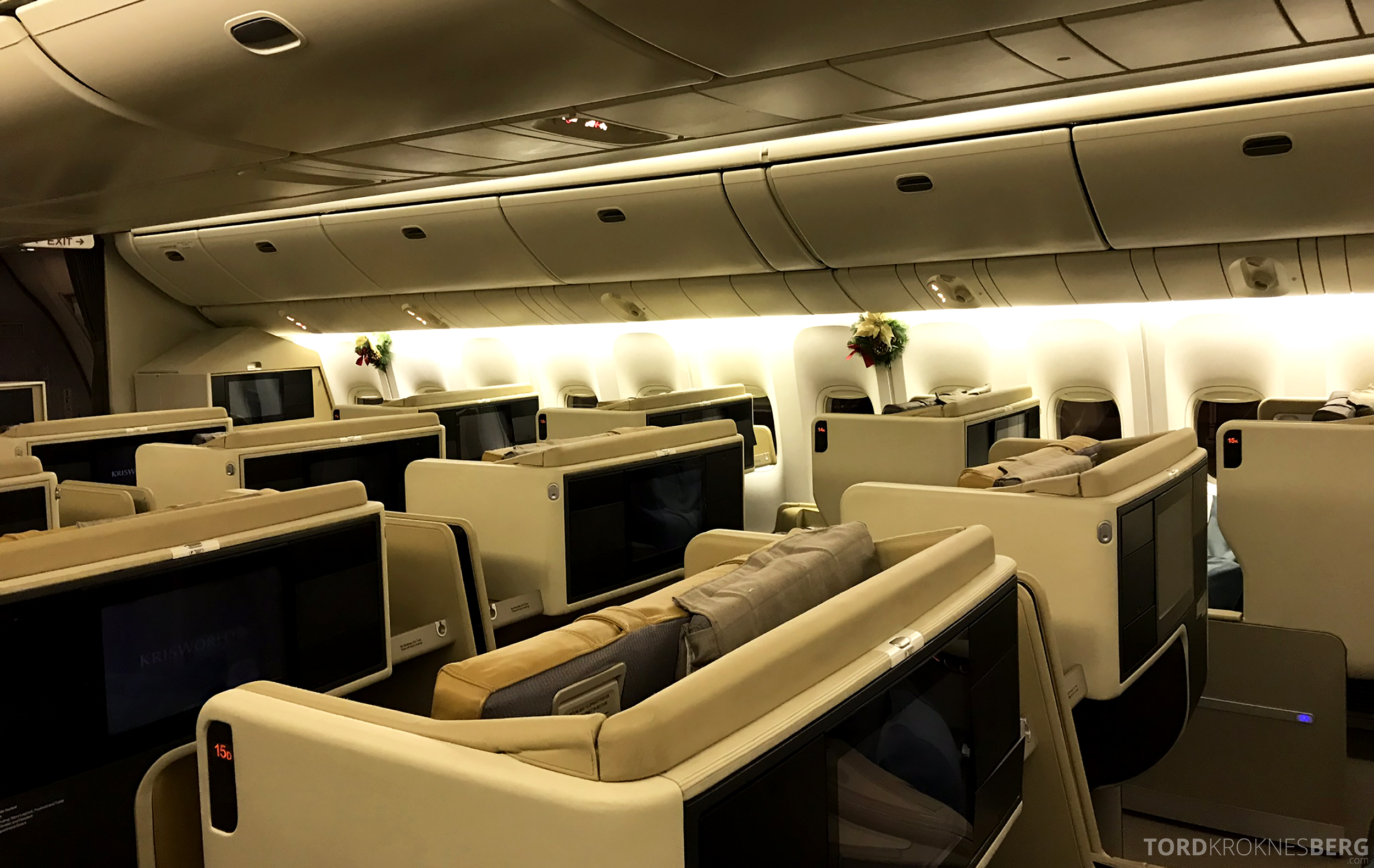 Singapore Airlines Business Class Brisbane tobakksgult interiør