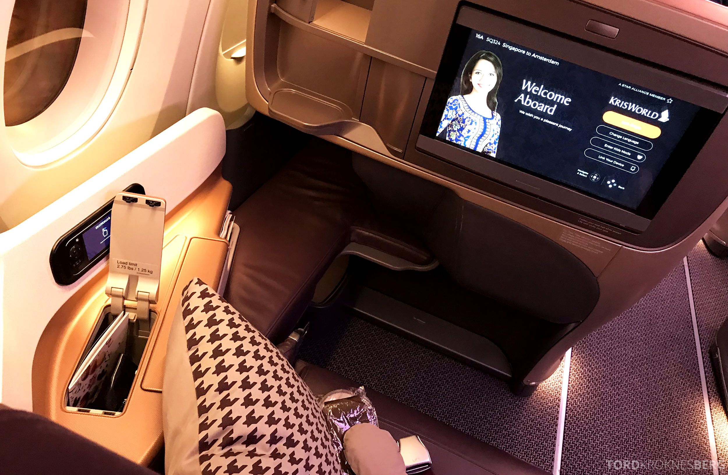 Singapore Airlines Business Class Singapore Amsterdam sete