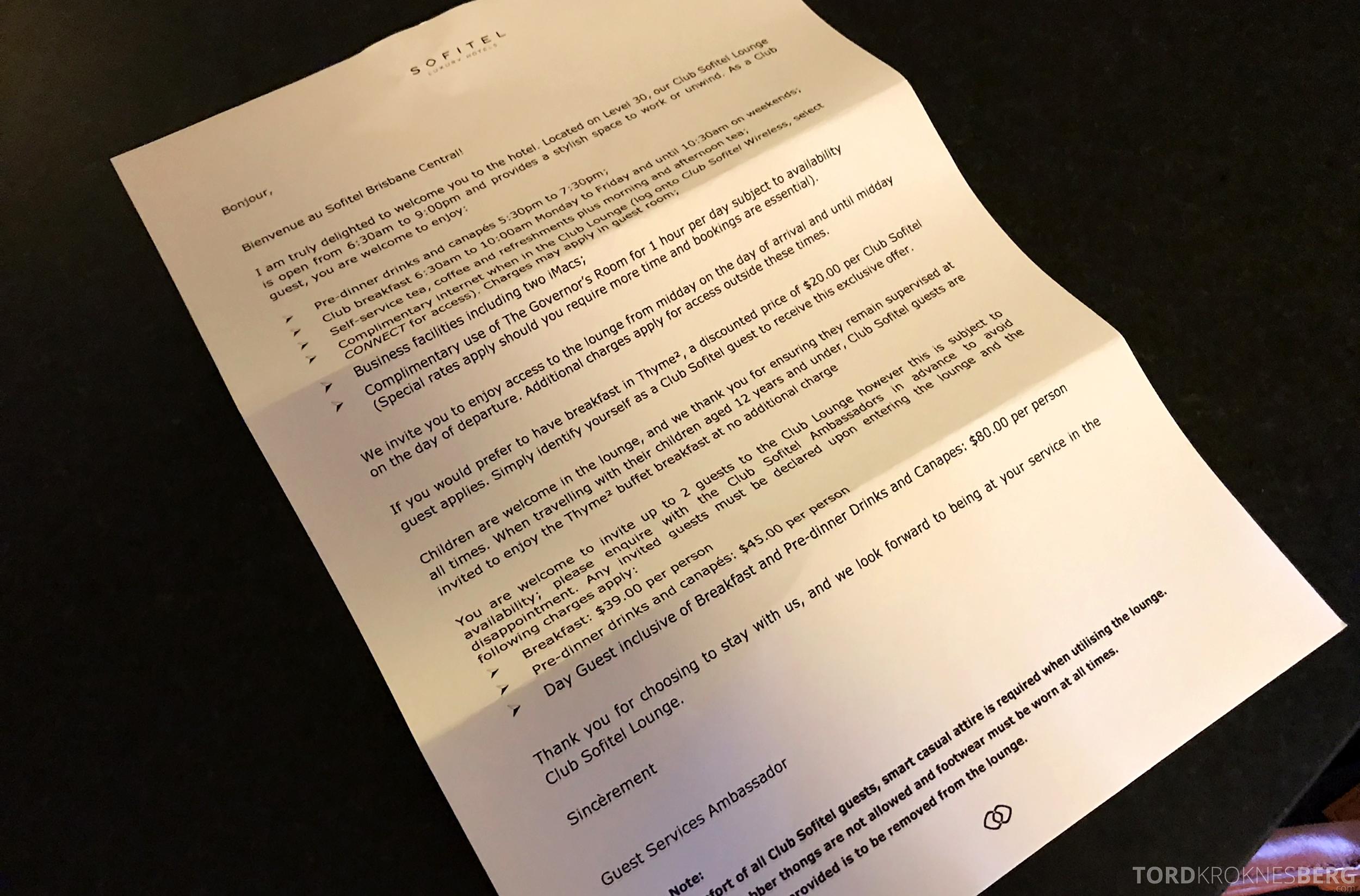 Sofitel Hotel Brisbane fordeler med club