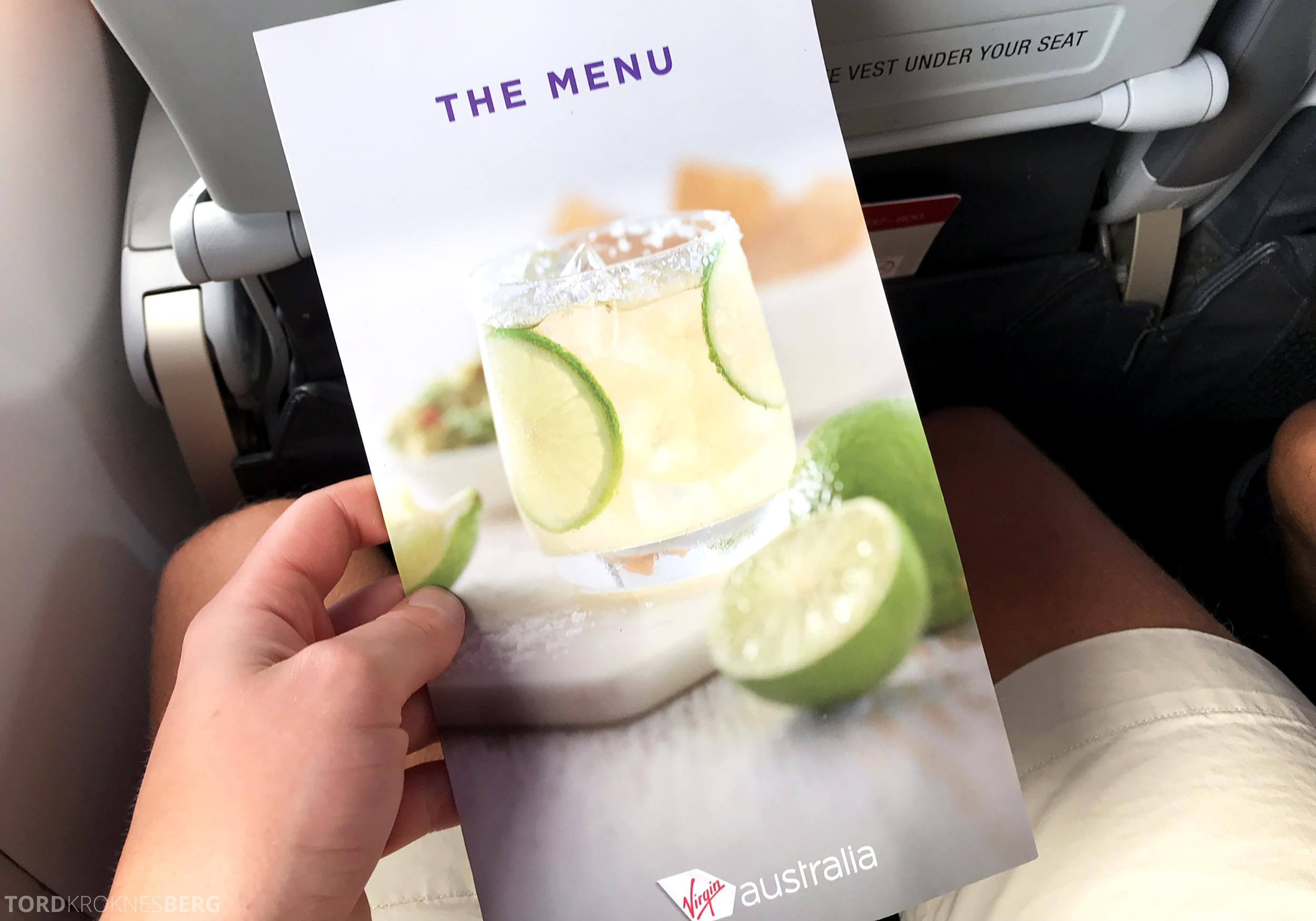 Virgin Australia Economy Class Brisbane Sydney meny