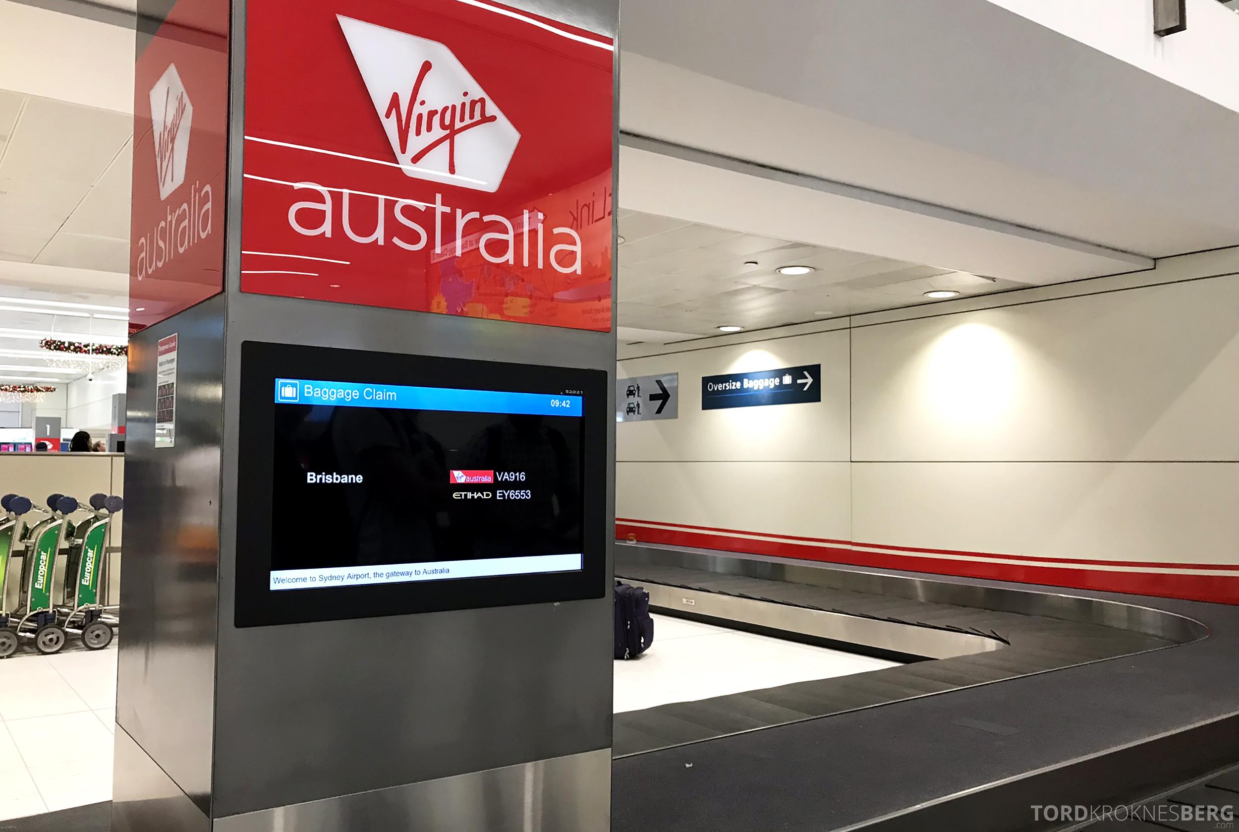 Virgin Australia Economy Class Brisbane Sydney bagasje