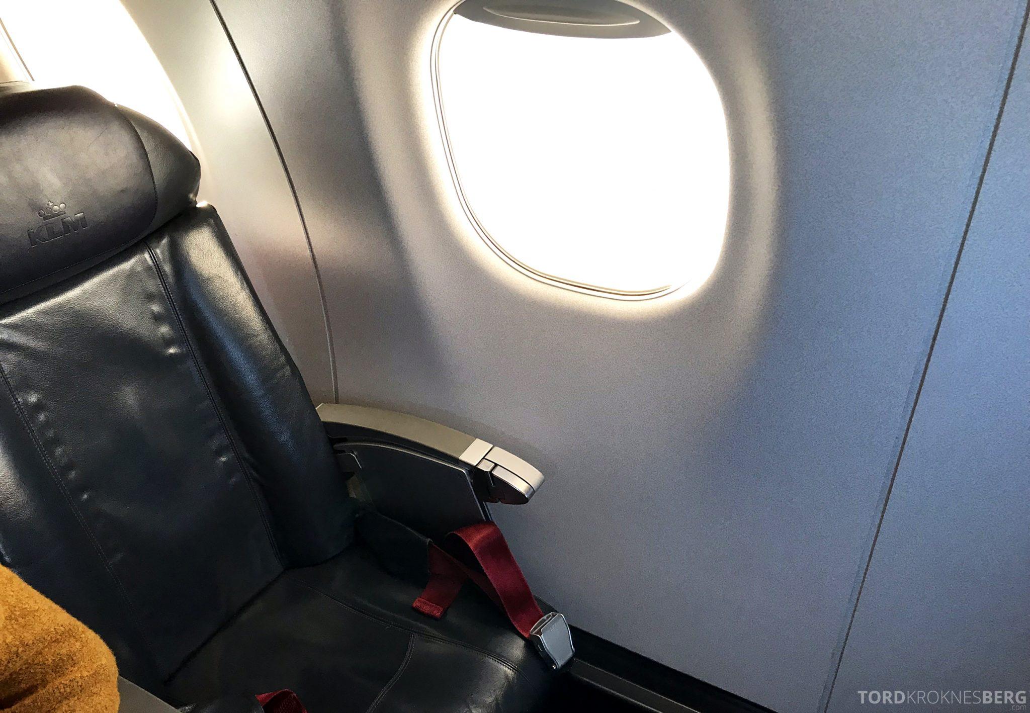 KLM Business Class Amsterdam Trondheim sete