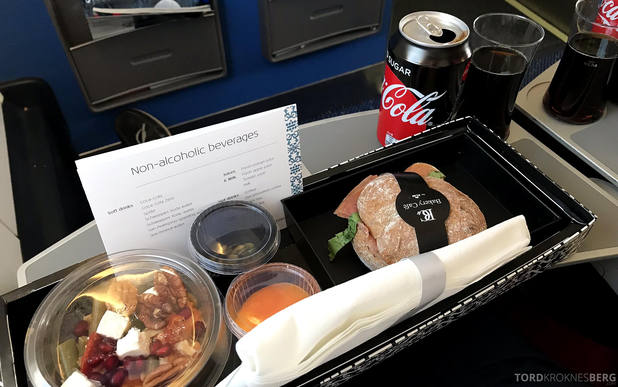 KLM Business Class Amsterdam Trondheim matbrett
